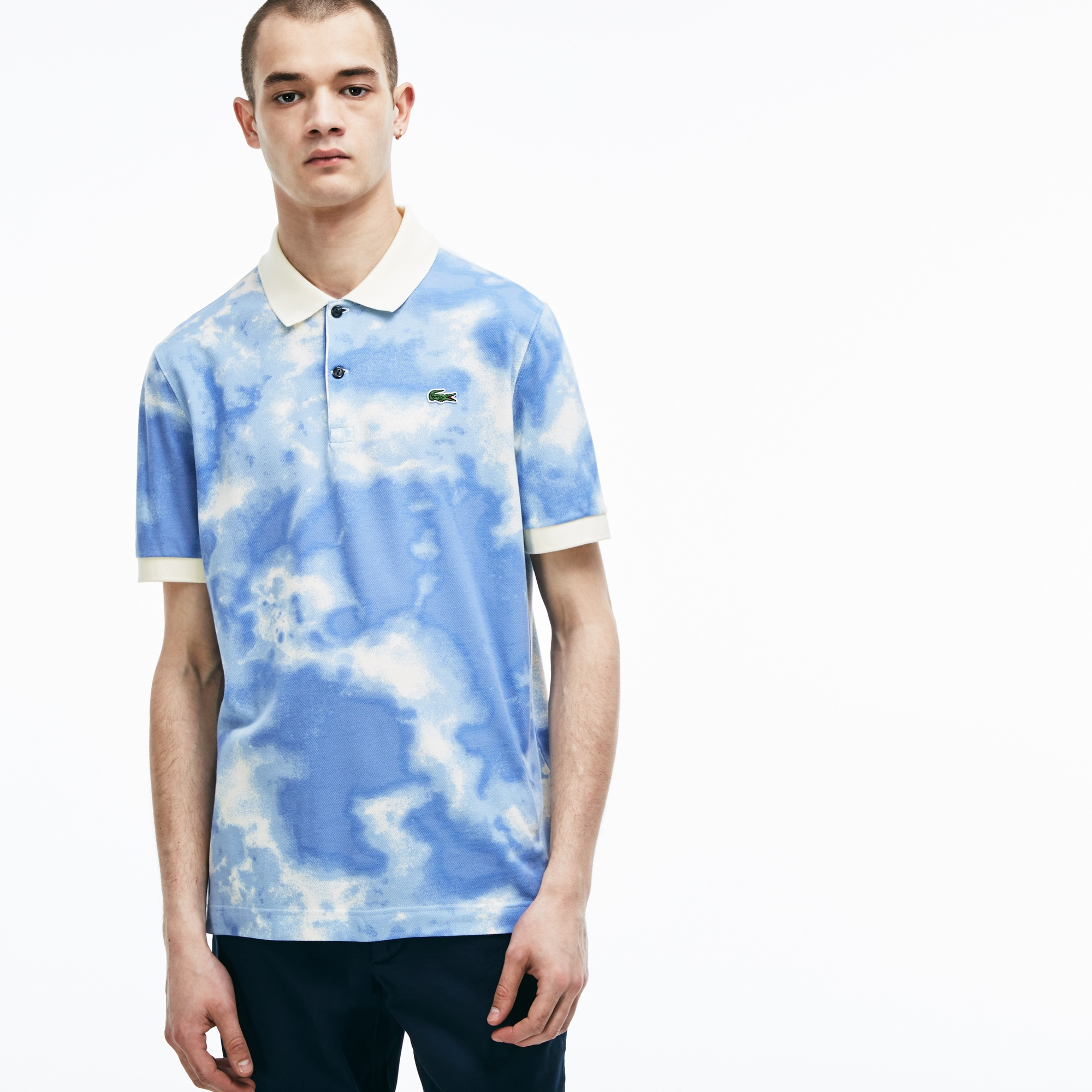 Men's Lacoste LIVE Regular Fit Cloud Print Cotton Mini Piqué Polo