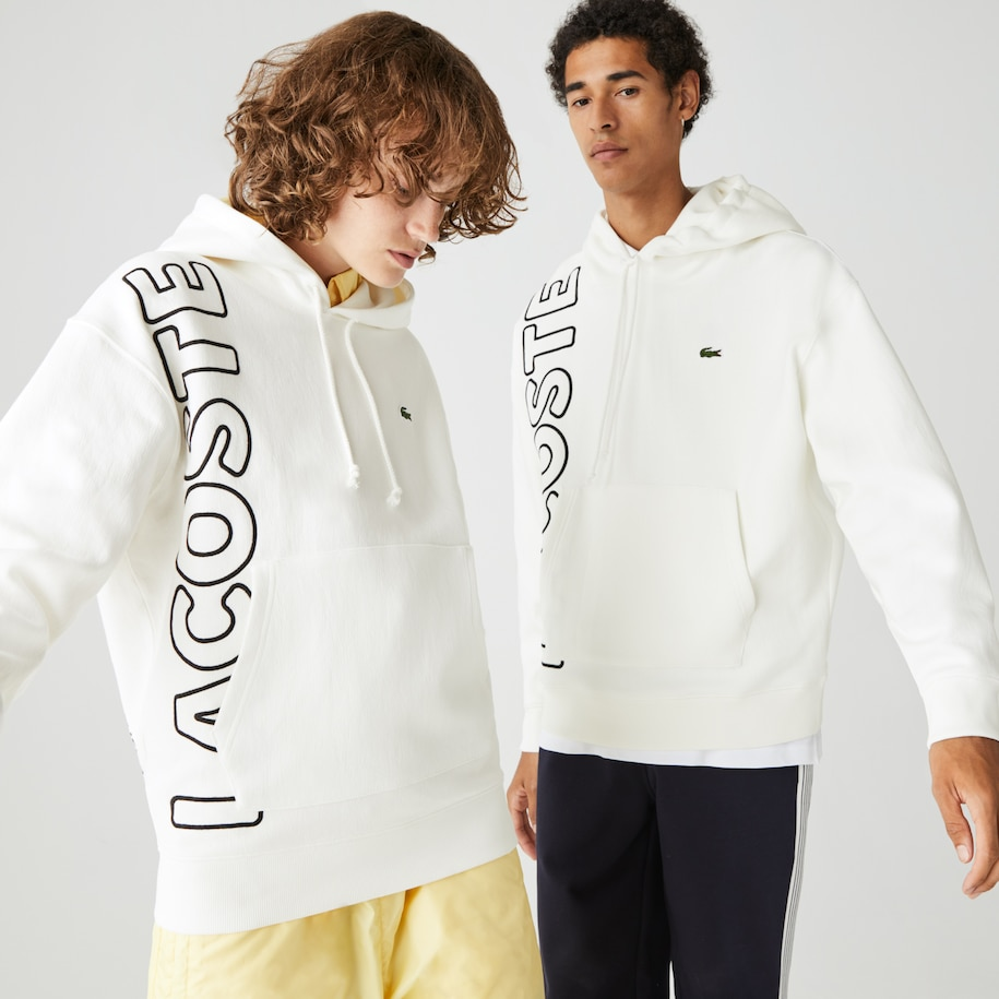 Unisex Lacoste LIVE Loose Fit Hooded Embroidered Cotton Blend Sweatshirt