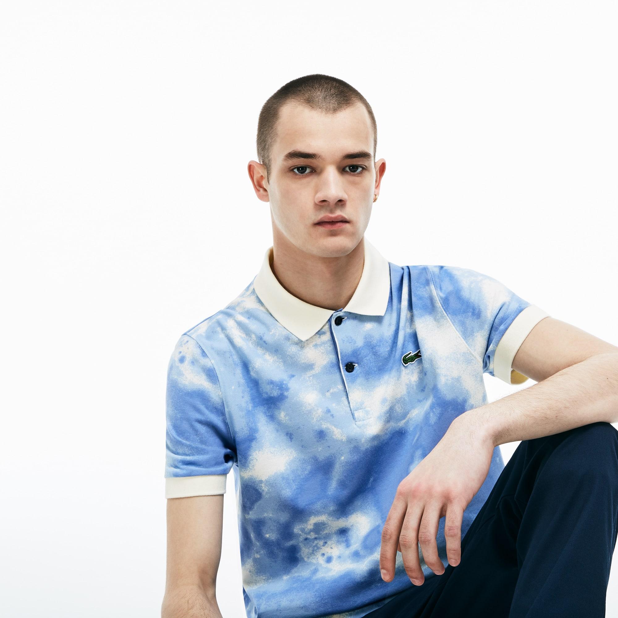 Men's Lacoste LIVE Regular Fit Cloud Print Cotton Mini Piqué Polo