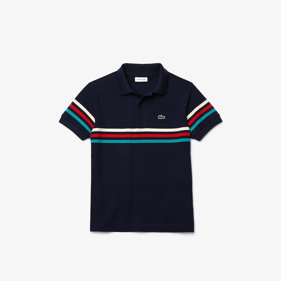 Boys' Lacoste Tricolour Striped Cotton Piqué Polo Shirt