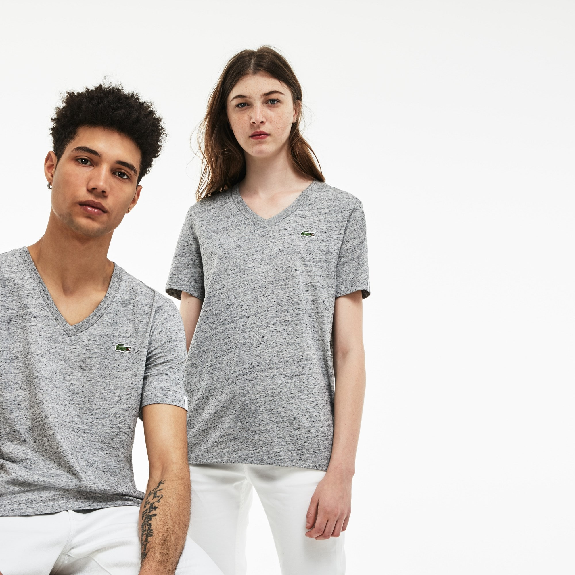 Unisex Lacoste LIVE V-Neck Cotton Jersey T-shirt