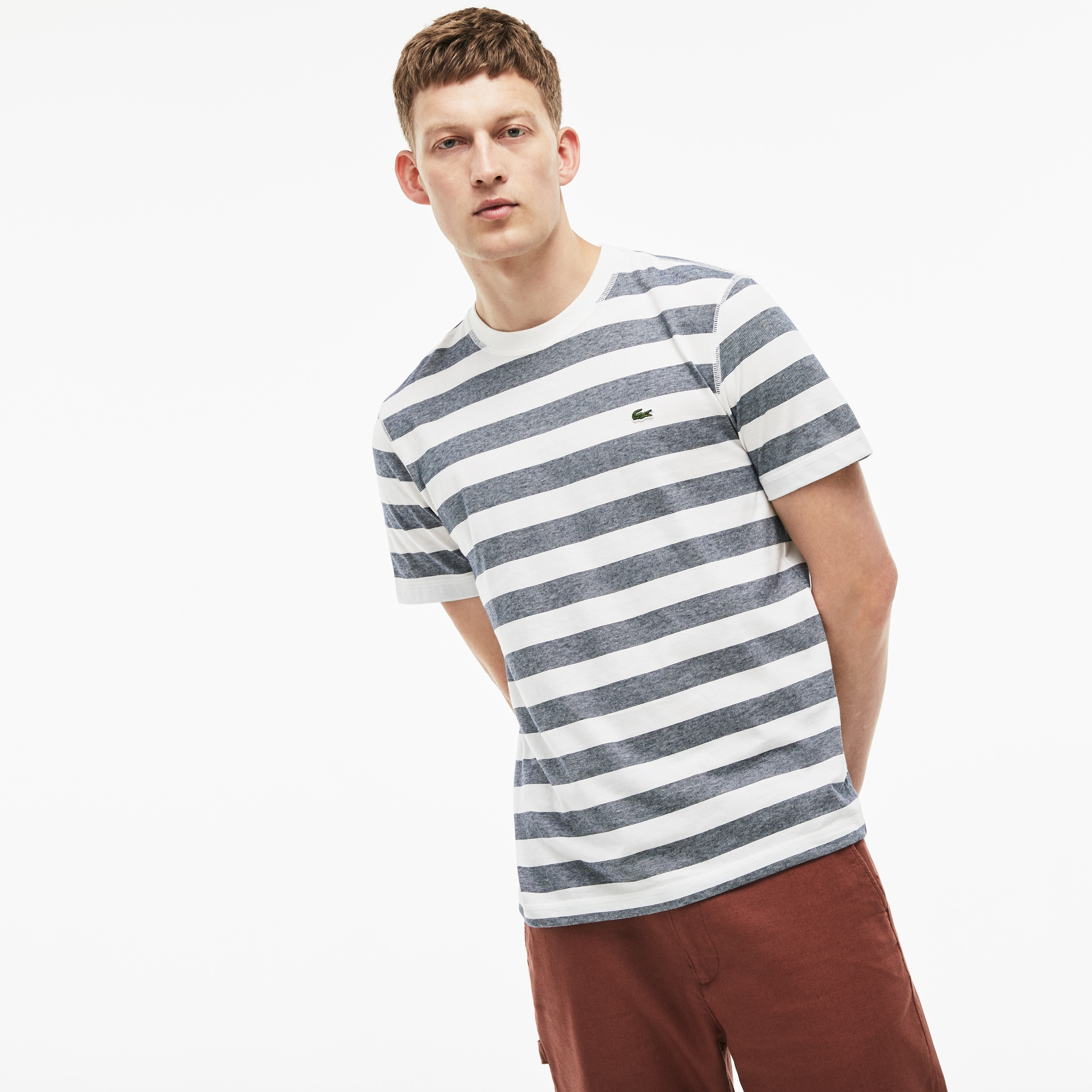 Men's Crew Neck Striped Cotton Jersey T-shirt