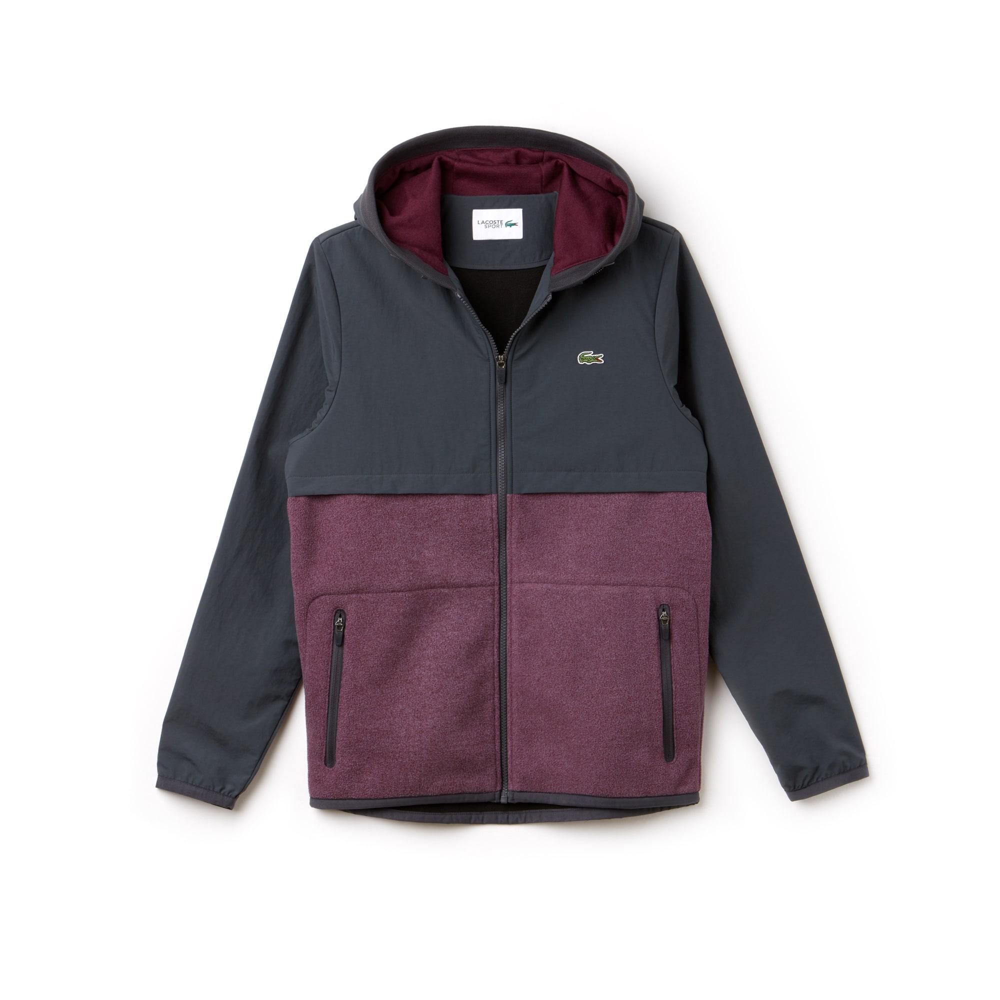 Men's Lacoste SPORT Hooded Bi-Material Colorblock Tennis Jacket