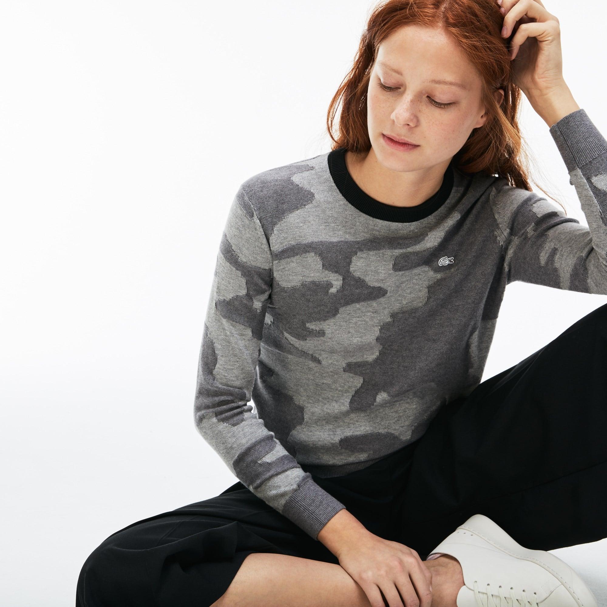 Women's Lacoste LIVE Crew Neck Camouflage Print Jacquard Sweater