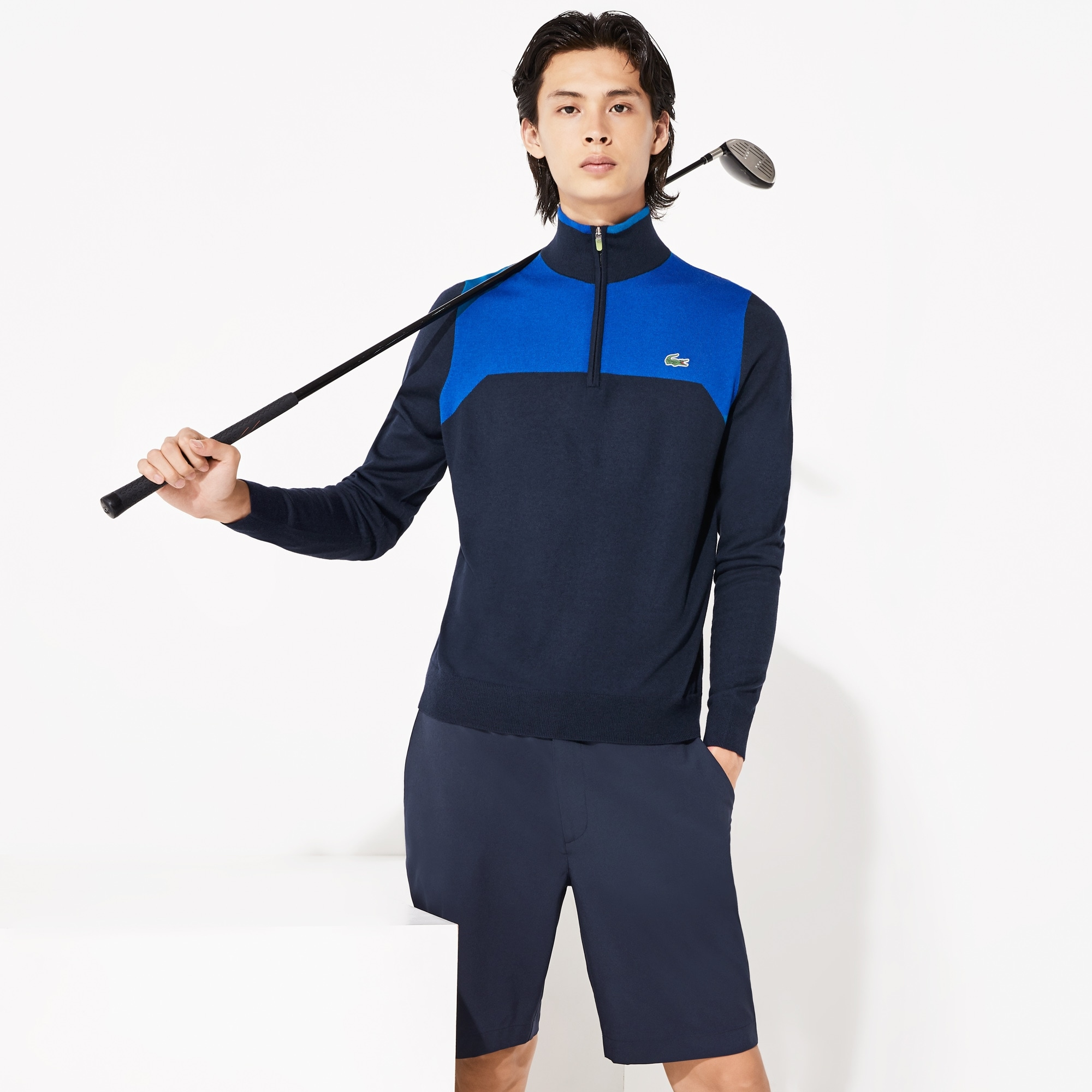 Men's Lacoste SPORT Zip Stand-Up Neck Technical Wool Golf Sweater