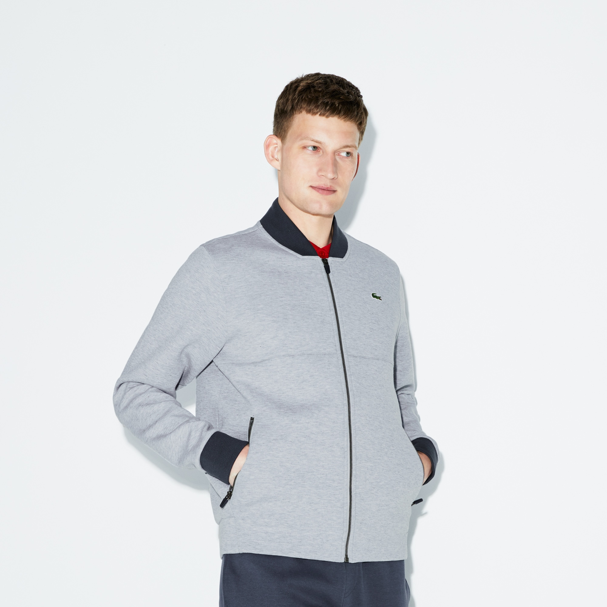 Men's Lacoste SPORT Banana Neck Zippered Fleece Tennis Sweatshirt