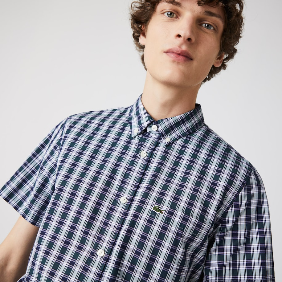 Men's Slim Fit Checked Poplin Shirt