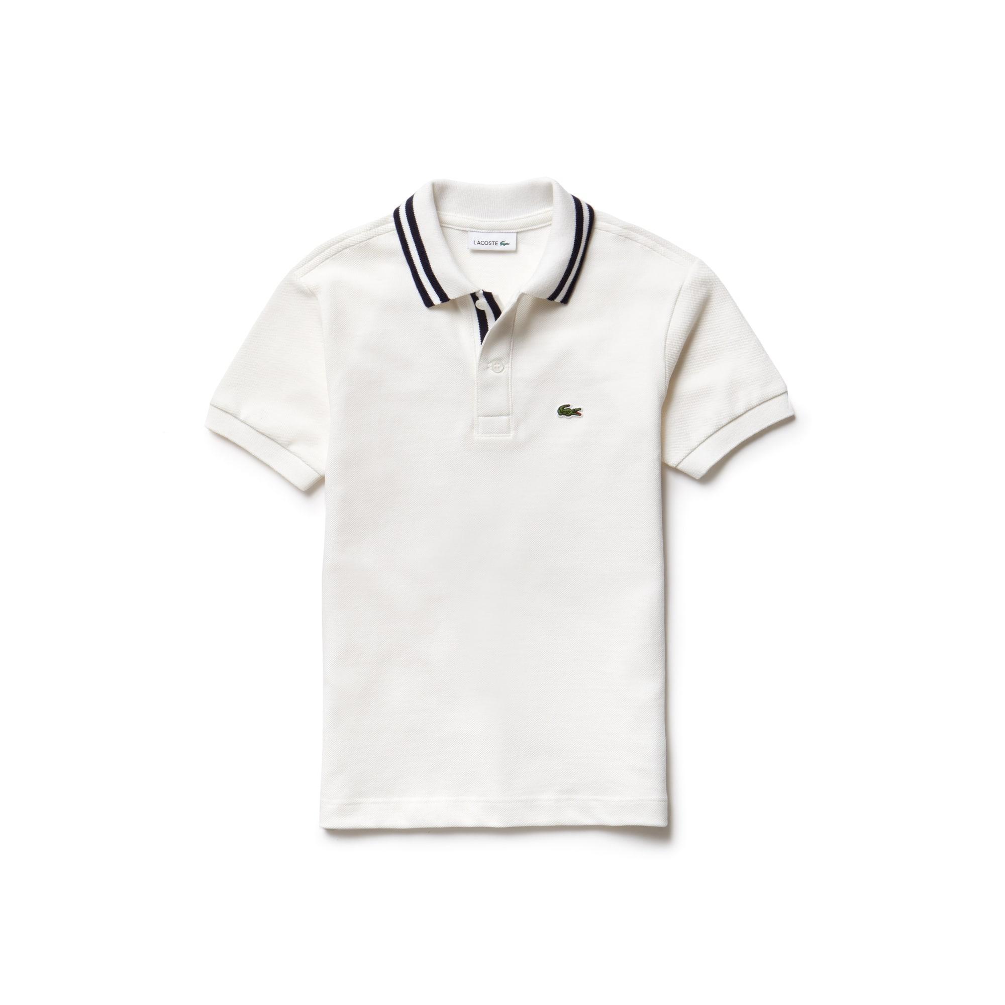 Boys' Lacoste Piped Neck Cotton Piqué Polo Shirt