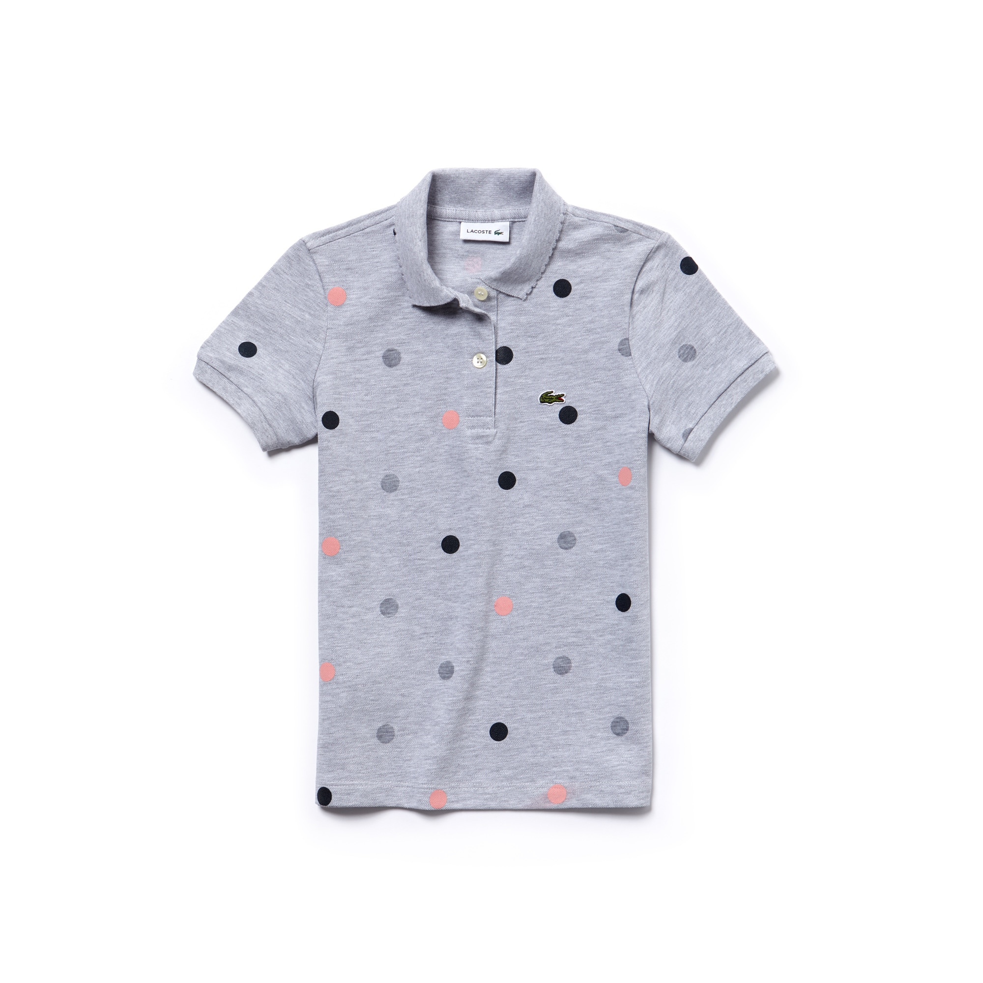 Girls' Scalloped Collar Polka Dot Mini Cotton Piqué Polo