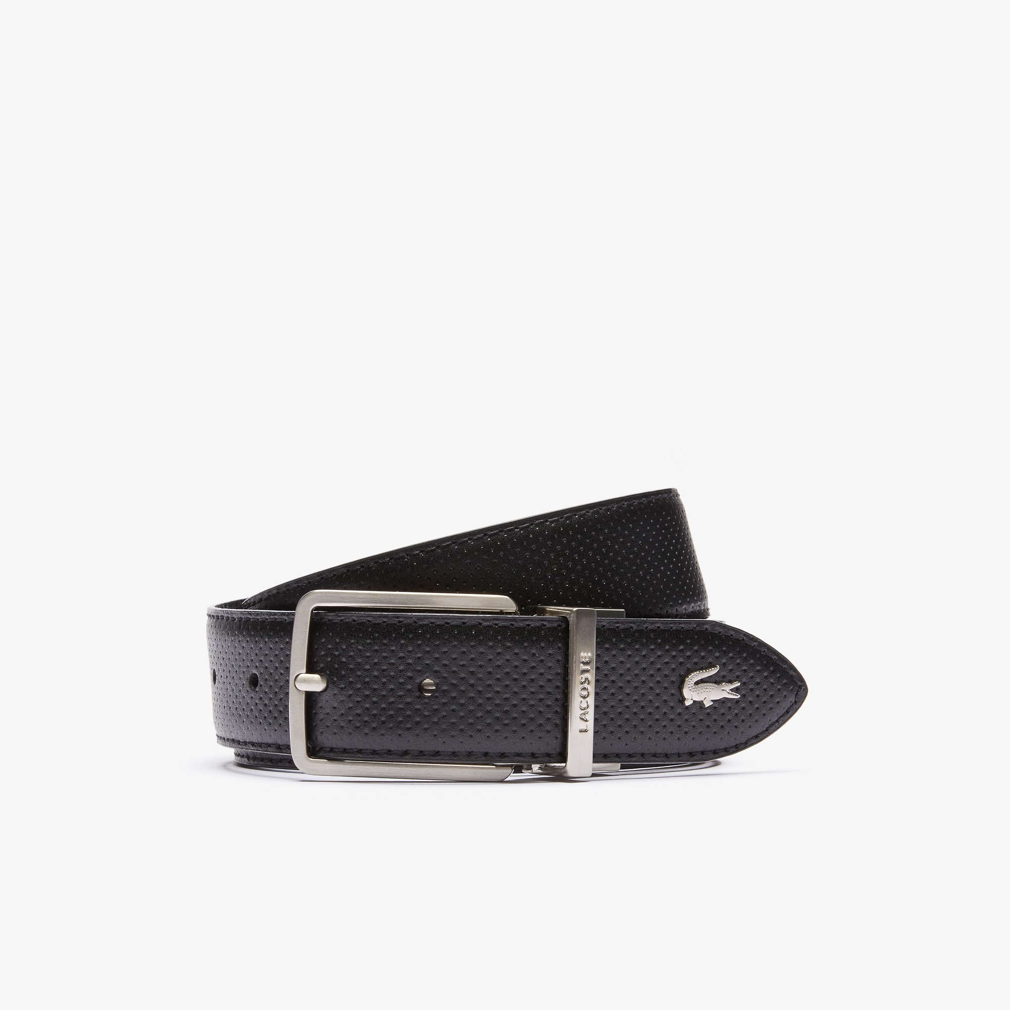 f301f48638 Men's Lacoste Engraved Buckle Reversible Piqué Leather Belt