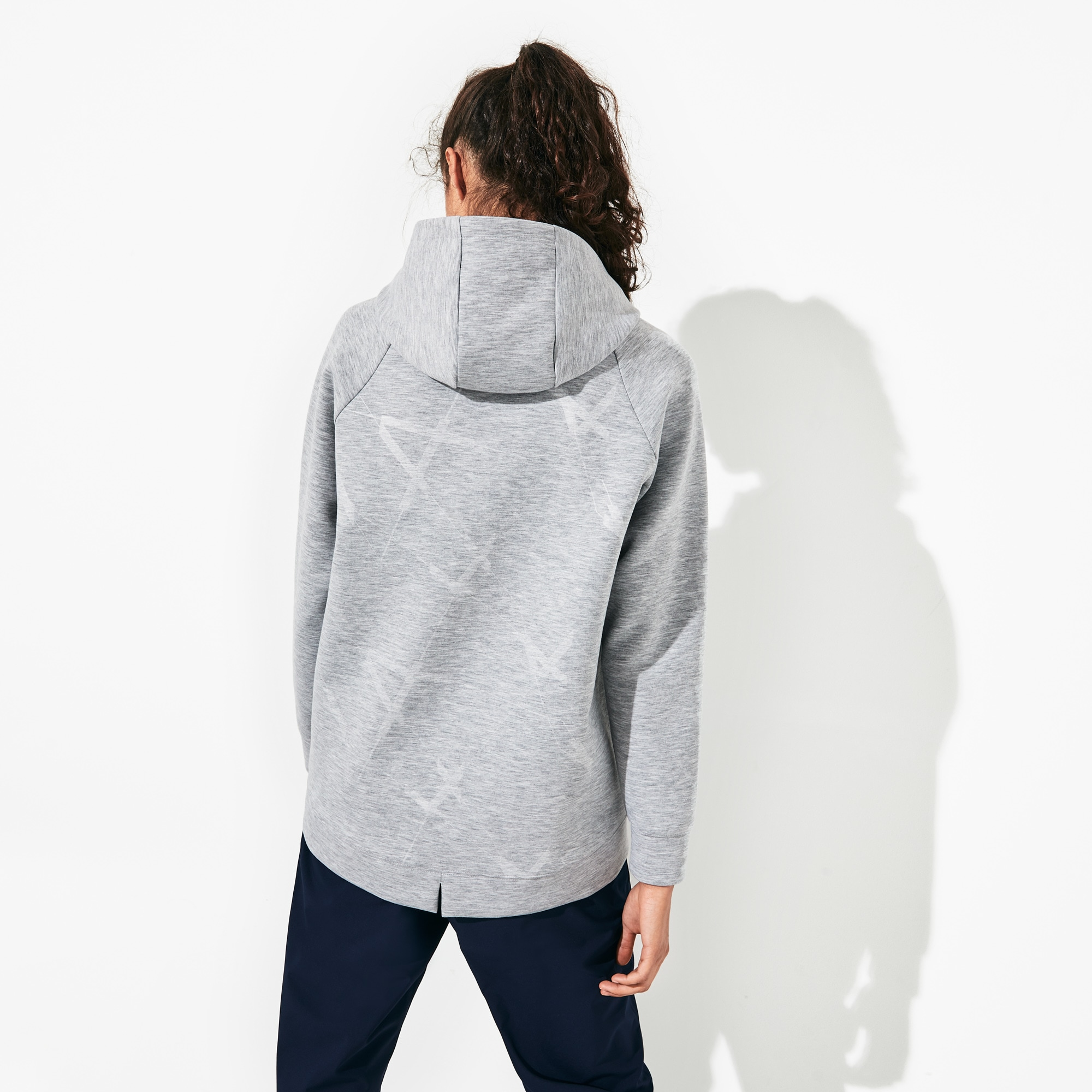 Women's Lacoste SPORT Hooded Print Fleece Tennis Sweatshirt