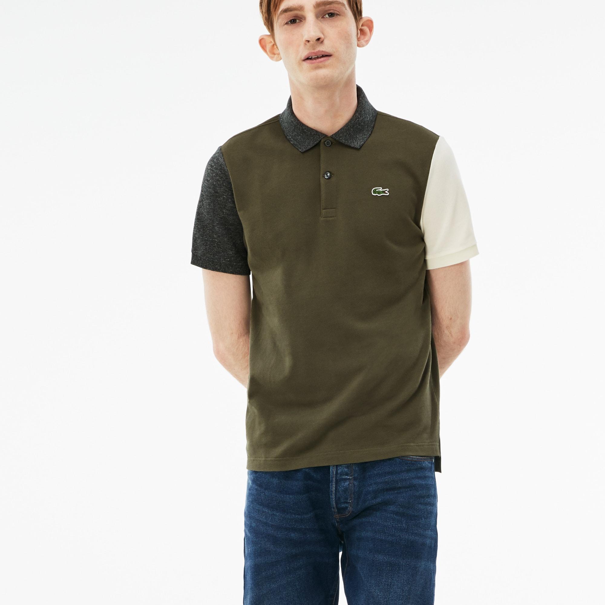 Men's Lacoste LIVE Slim Fit Colorblock Cotton Petit Piqué Polo
