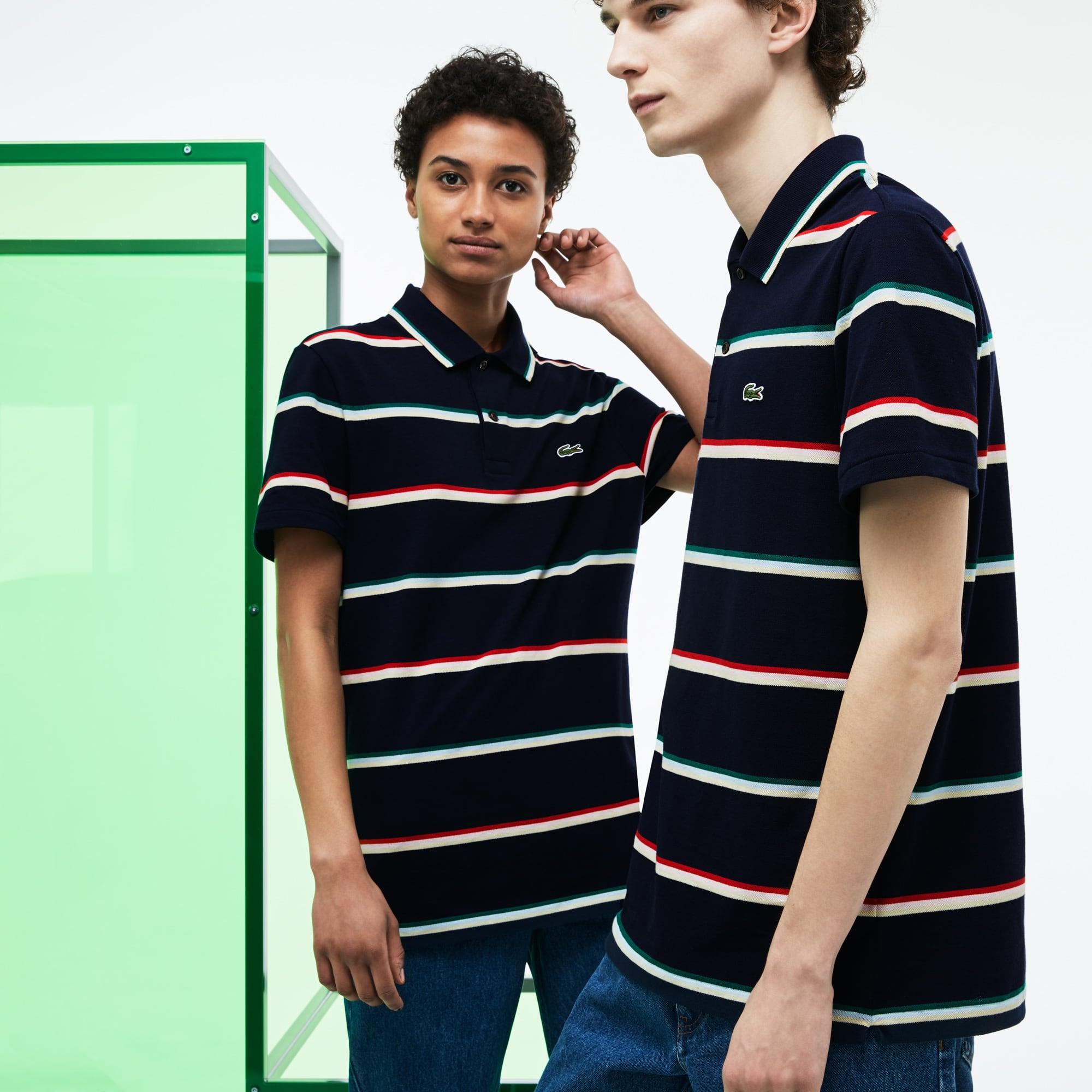 Unisex Lacoste Fashion Show Colored Stripes Cotton Piqué Polo