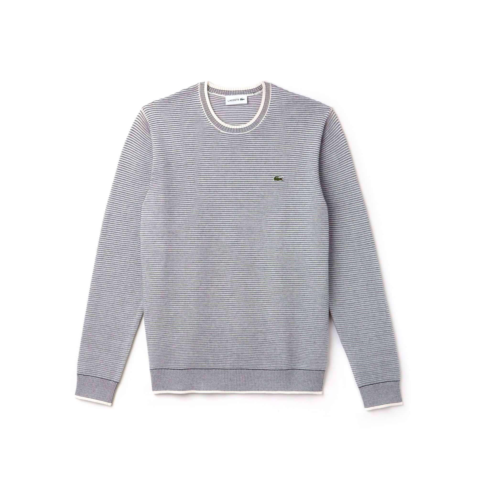 Men's Crew Neck Pinstriped Ottoman Cotton Sweater