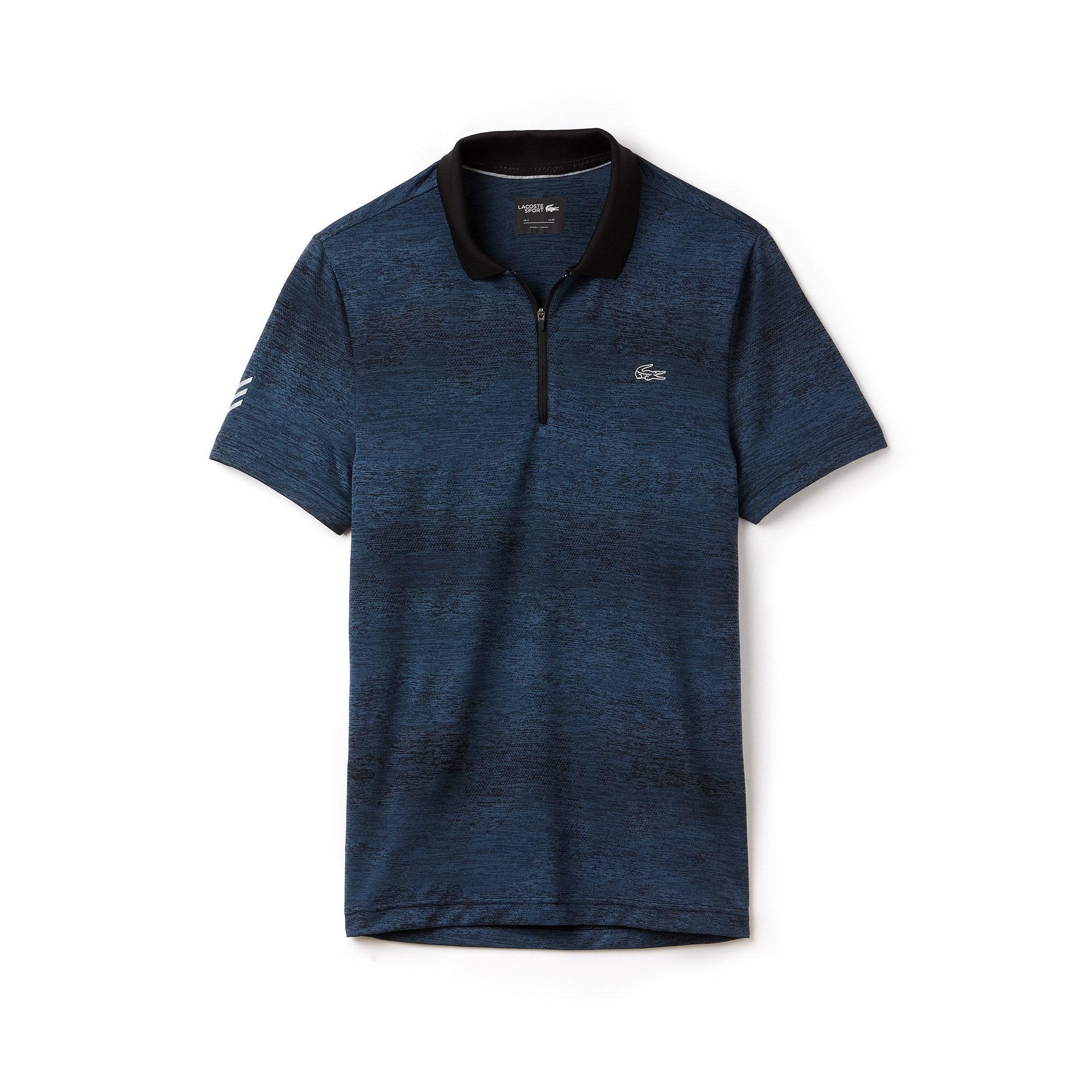 Men's Lacoste SPORT Zip Neck Print Technical Jersey Tennis Polo Shirt