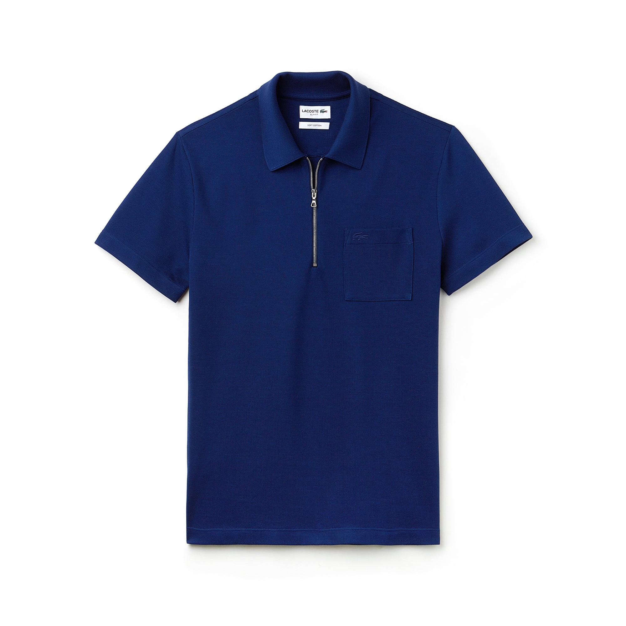 Men's Lacoste Slim Fit Zip Neck Cotton Piqué Polo