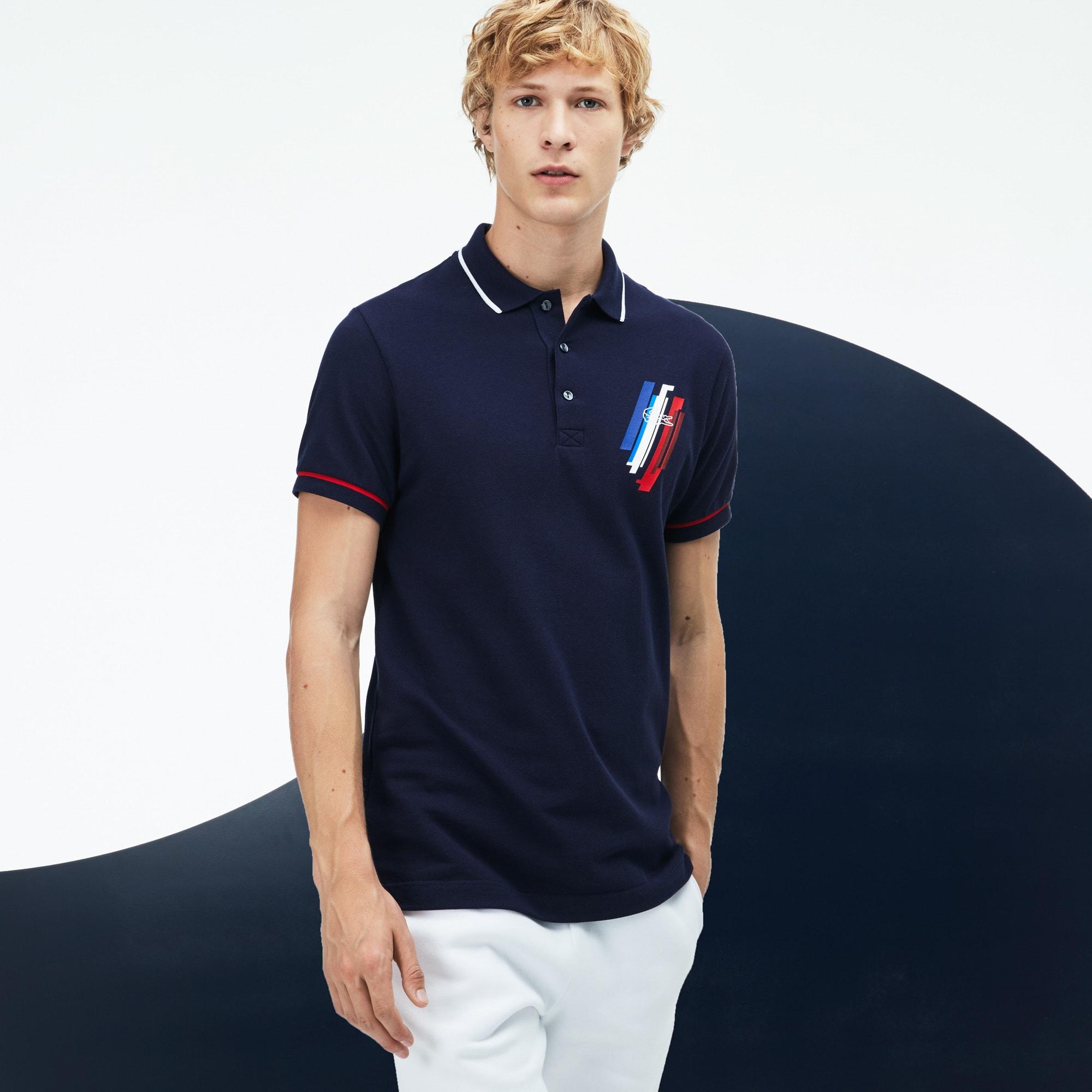 Men's Lacoste SPORT COLLECTION TRICOLORE Edition Design Two-Ply Petit Piqué Polo