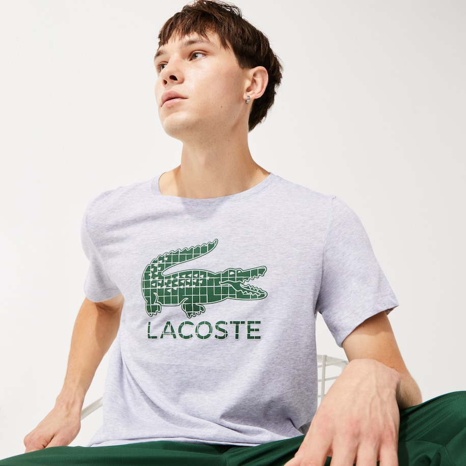 Men's Lacoste SPORT Crocodile Print Breathable Jersey T-shirt