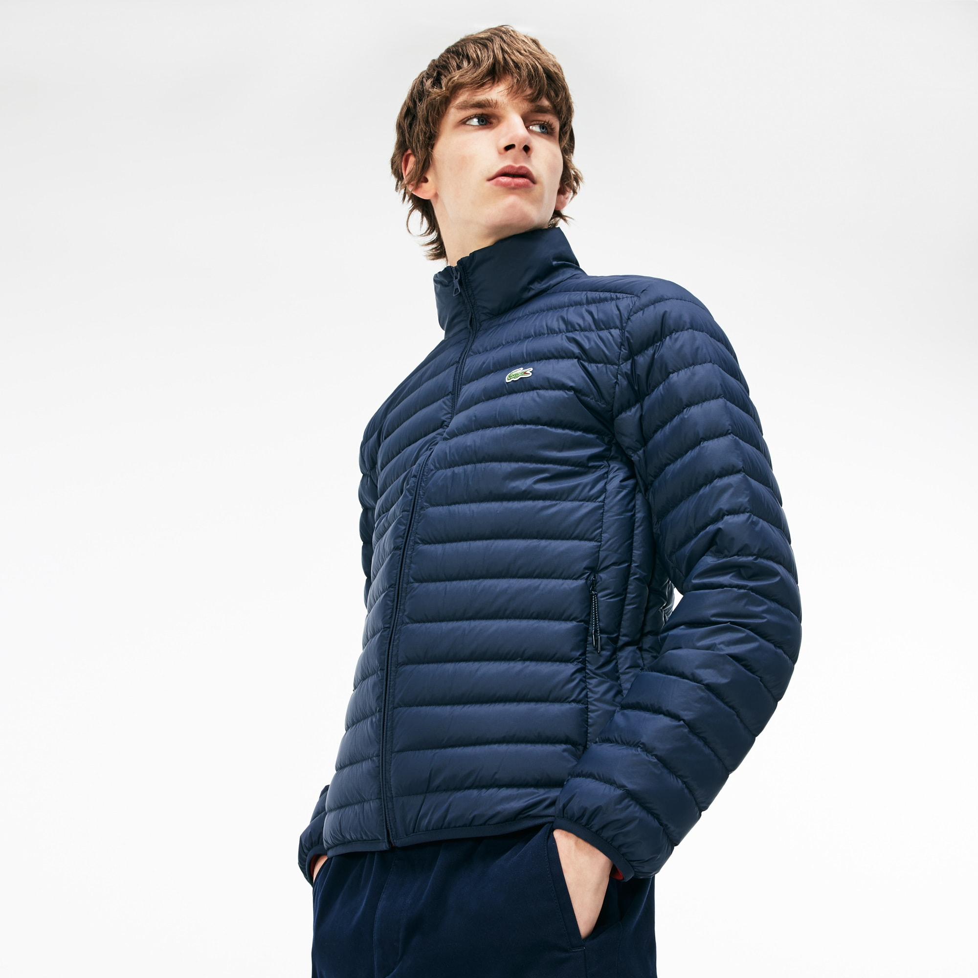 Men's Short Contrast Lining Quilted Jacket