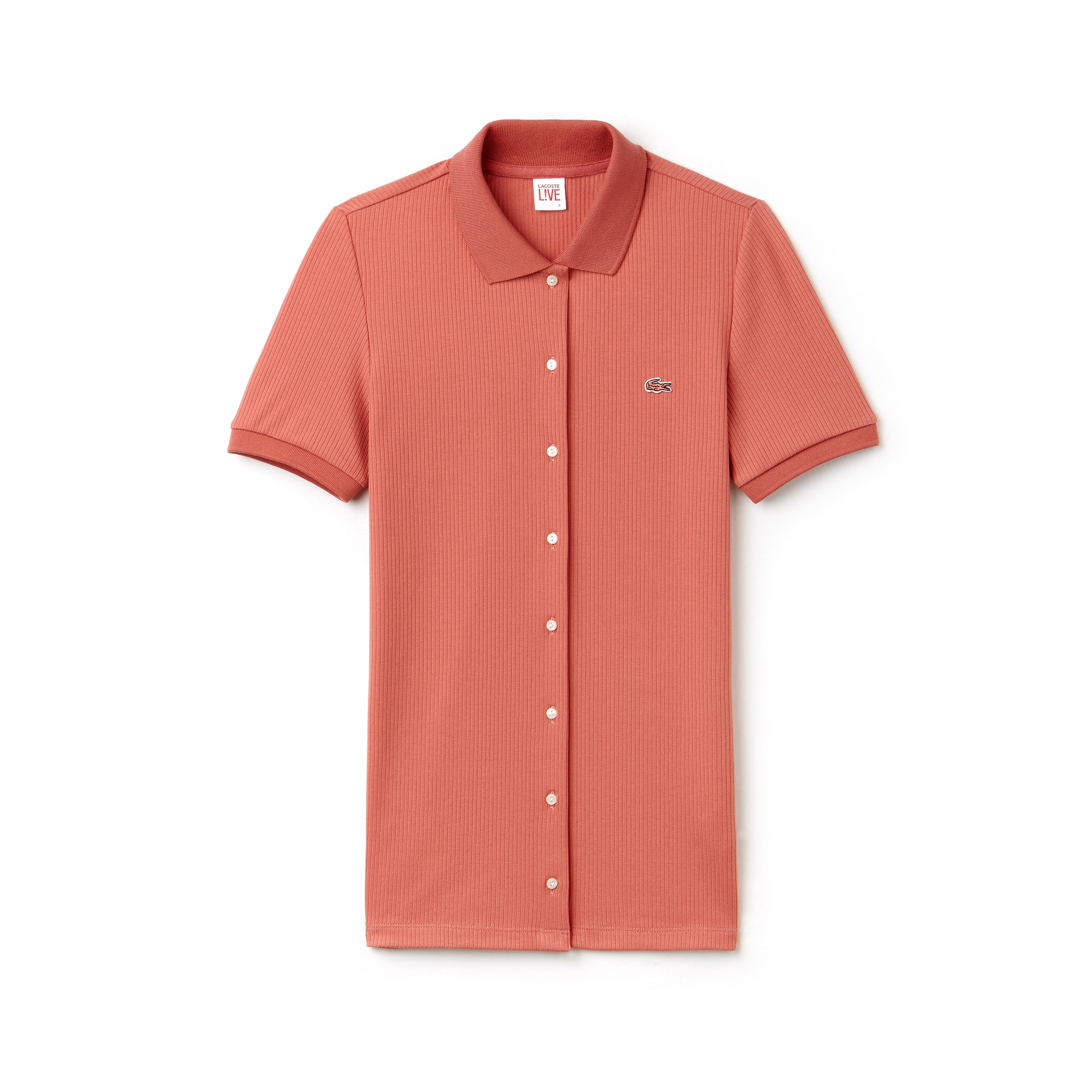 Women's Lacoste LIVE Slim Fit Stretch Ribbed Knit Buttoned Polo