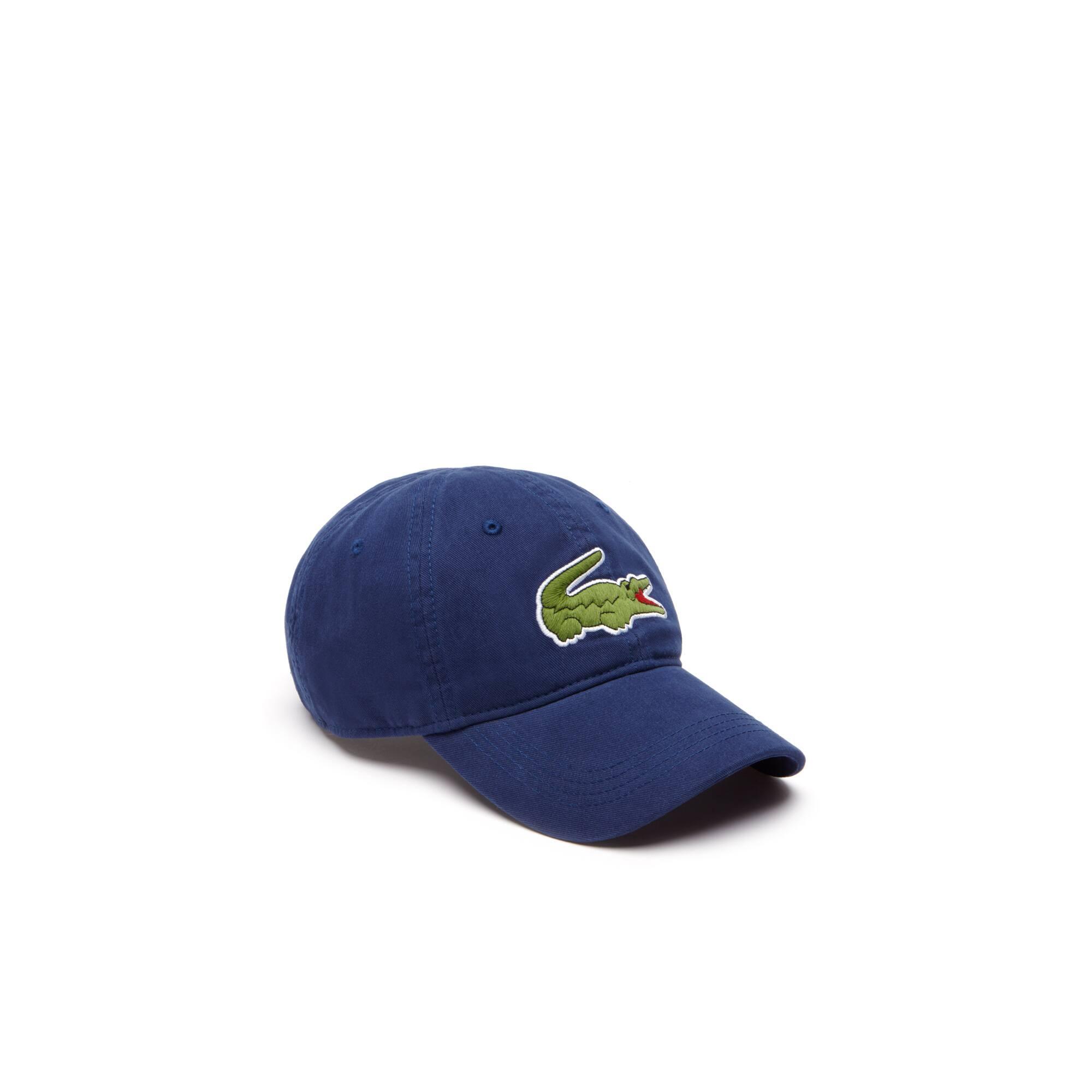 Men's Gabardine cap with oversized crocodile