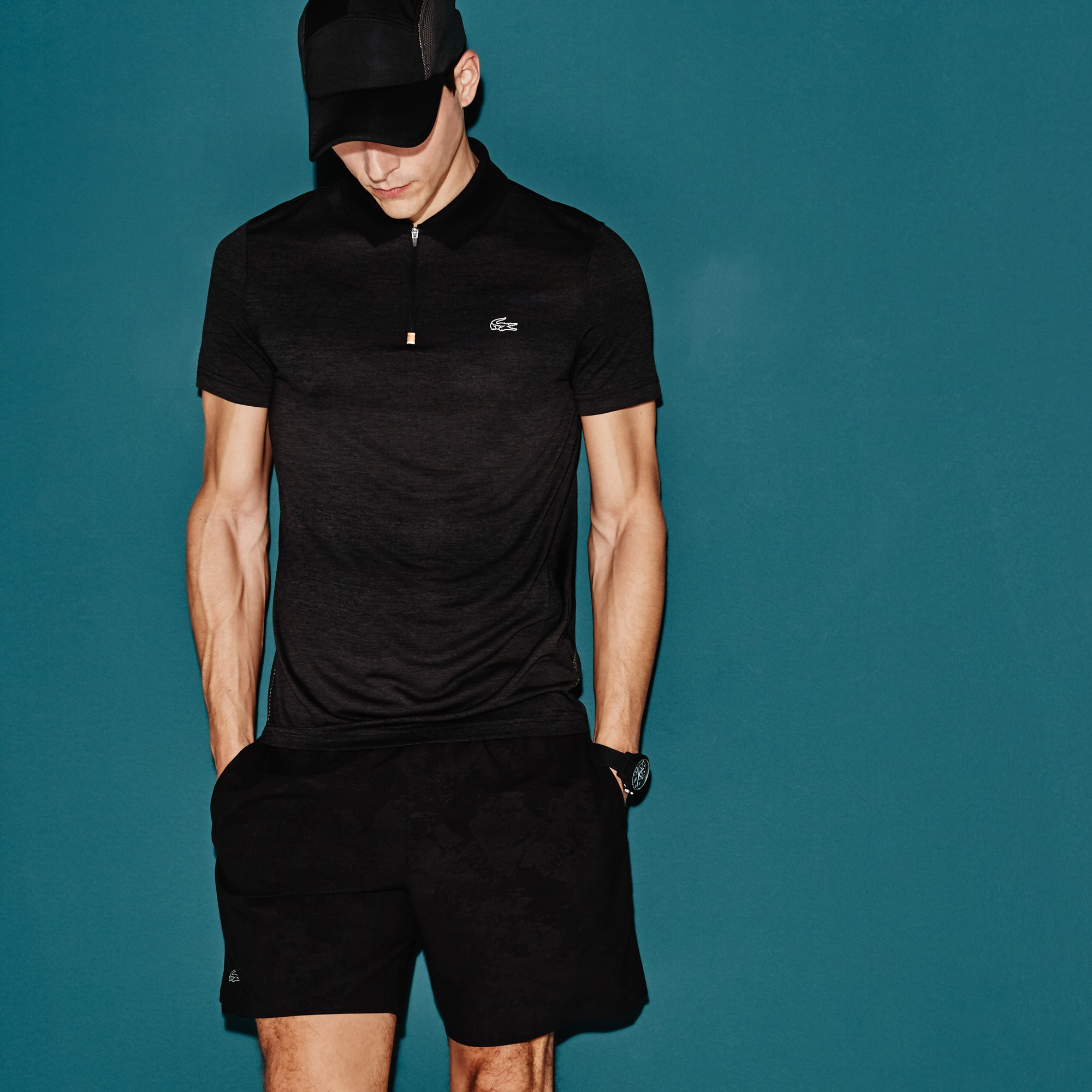 Men's Lacoste SPORT Tennis Zip Neck Mesh Back Tech Jersey Polo