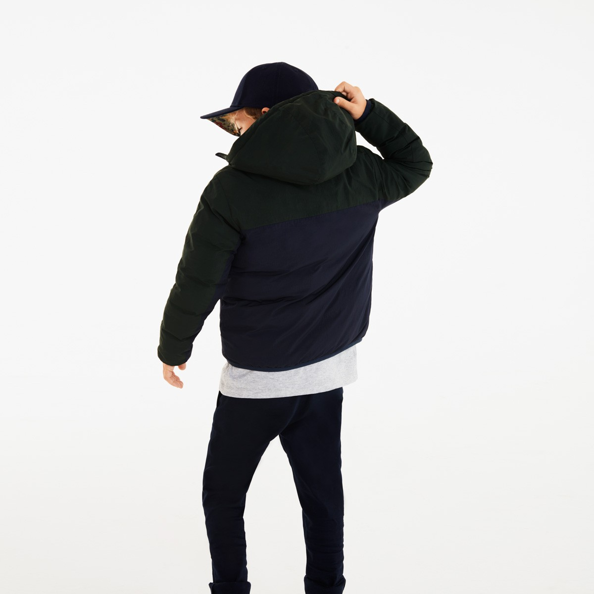 Boys' Hooded Colourblock Quilted Jacket