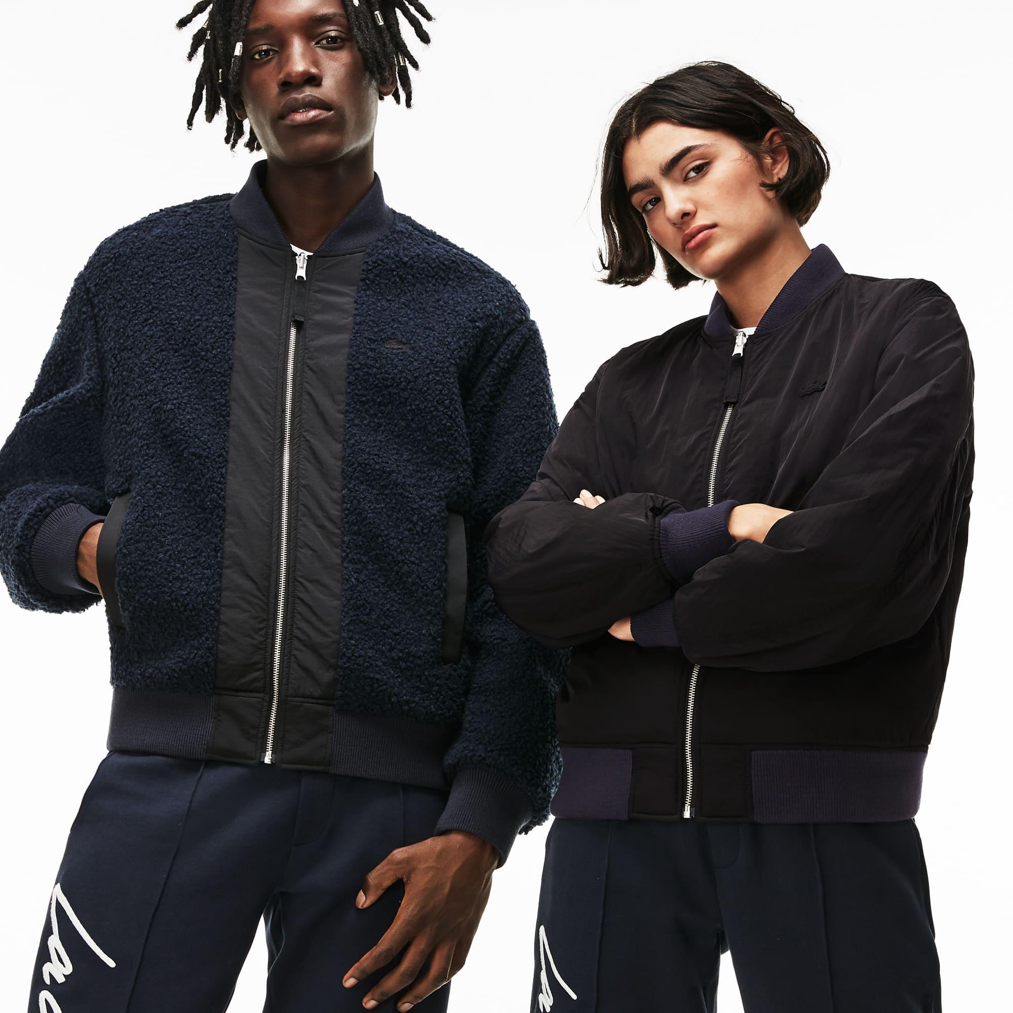 Unisex Lacoste LIVE Reversible Nylon And Fleece Bomber Jacket