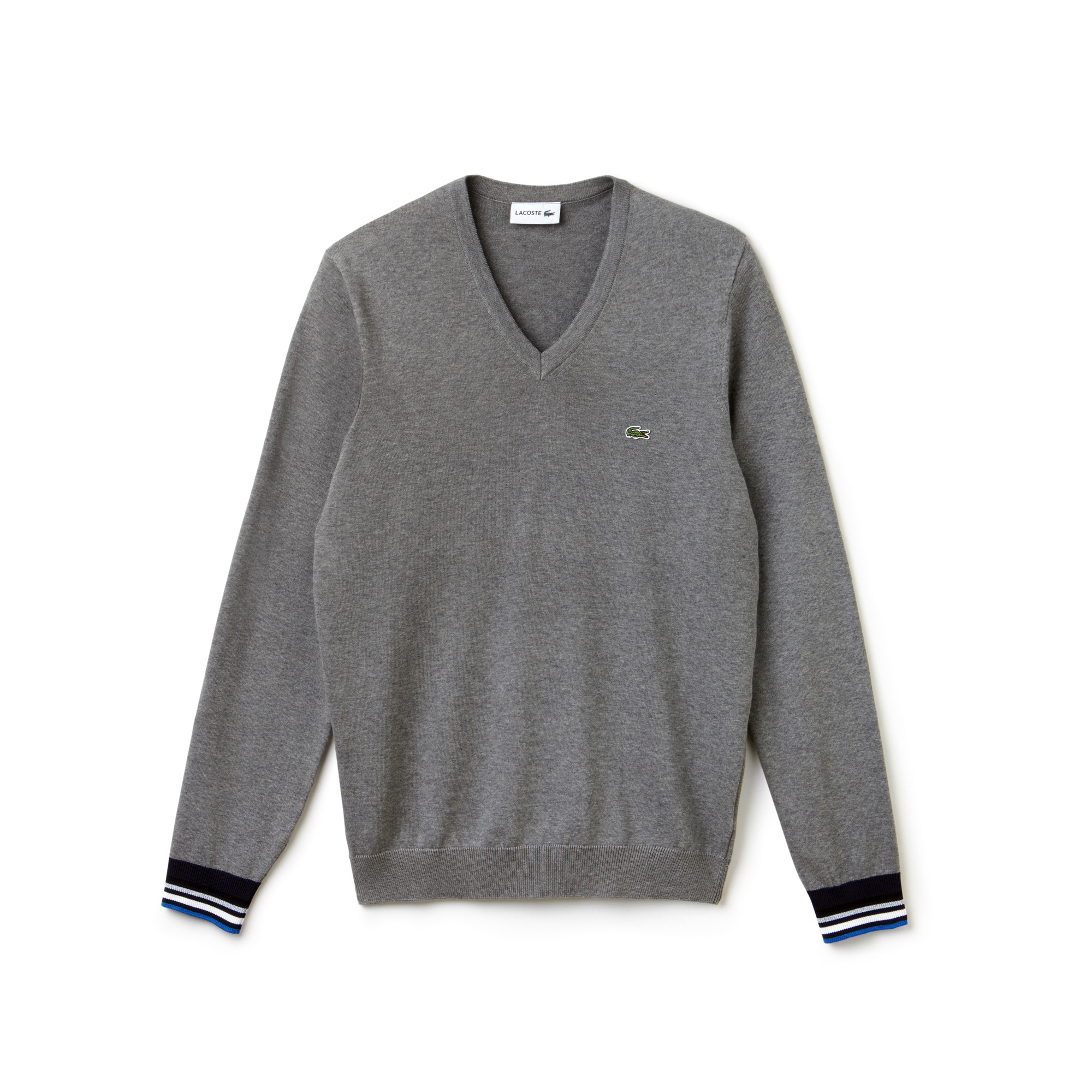 Men's V-neck Contrast Finish Jersey Sweater