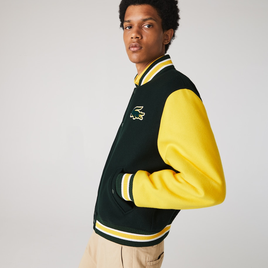 Men's Lacoste LIVE Two-Tone Wool Blend Bomber Jacket