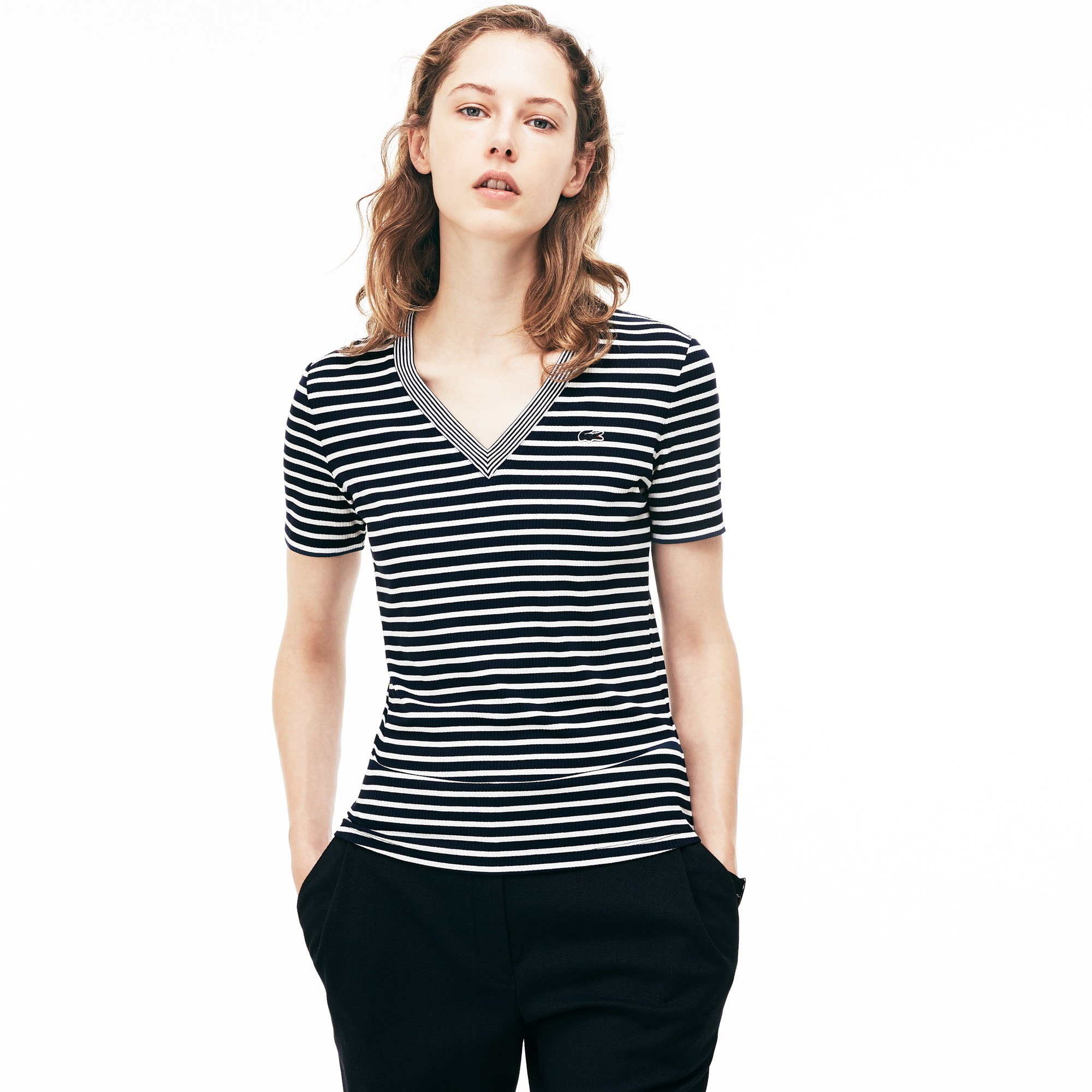 Women's V-neck Striped Stretch Cotton T-shirt
