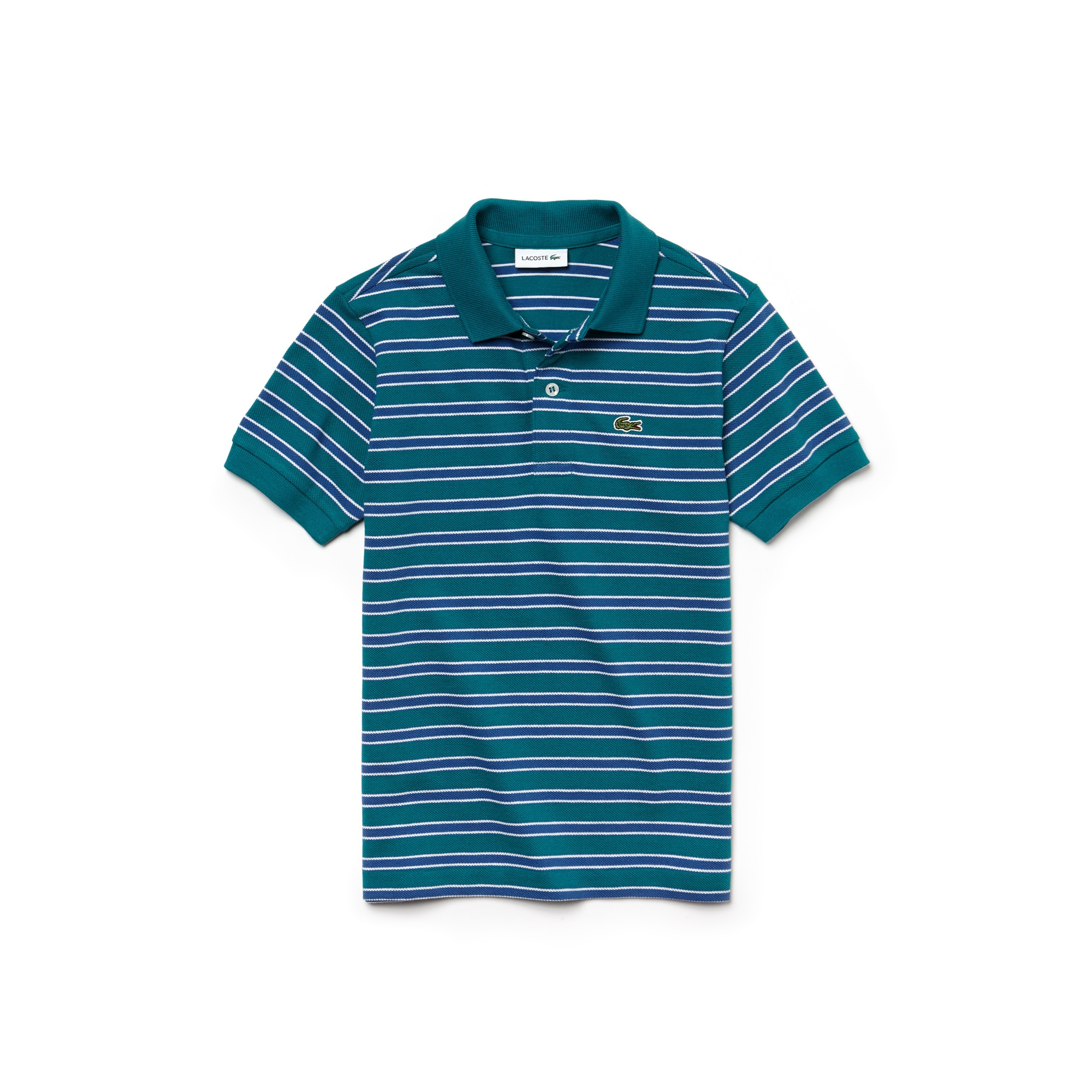 Boys' Lacoste Striped Cotton Piqué Polo Shirt