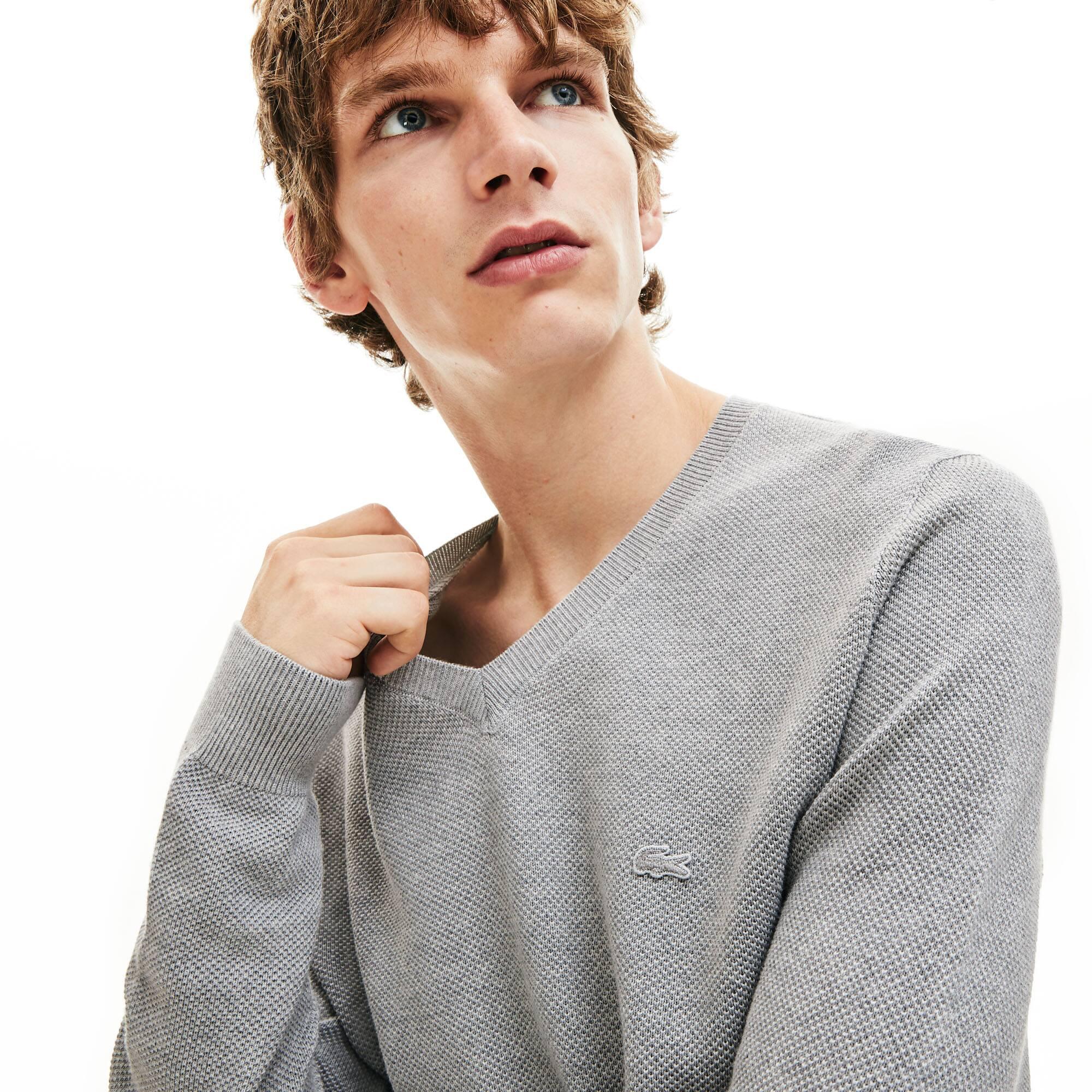Men's V-neck Cotton Piqué Sweater