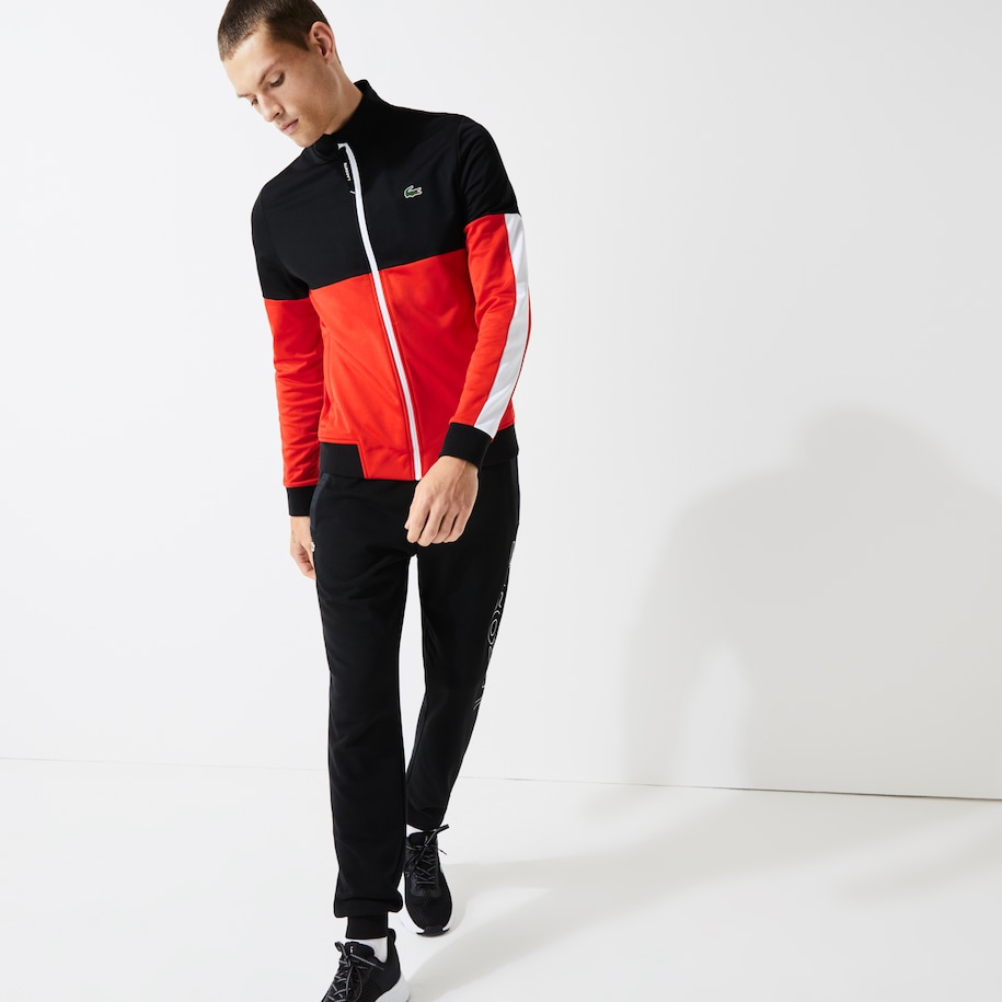 Men's Lacoste SPORT Colourblock Resistant Piqué Zip Sweatshirt