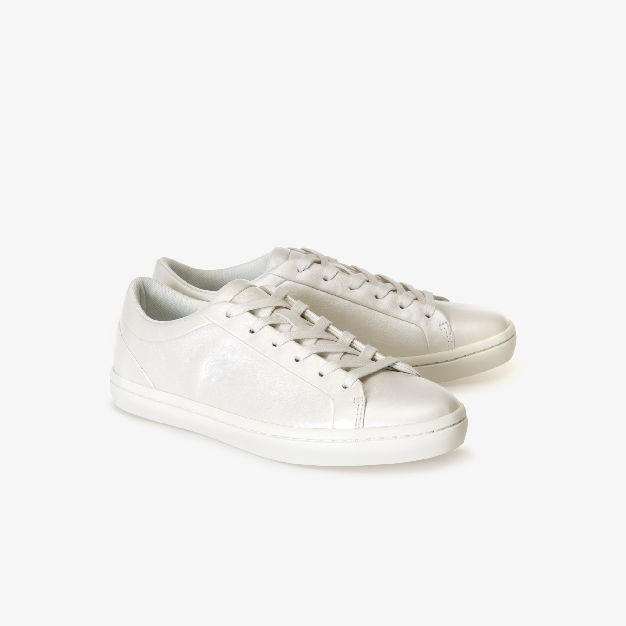Women's Straightset Leather Trainers with Tonal Croc