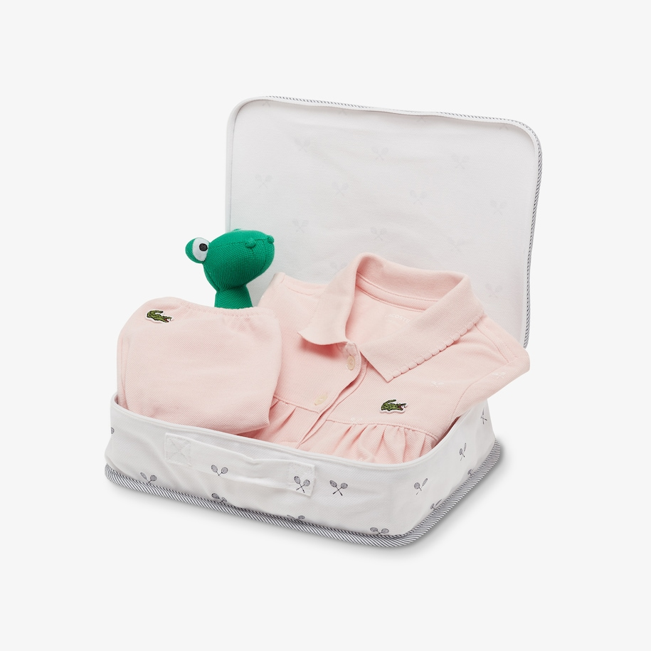 Girls' Baby Rattle And Cotton Piqué Pajama Box Set