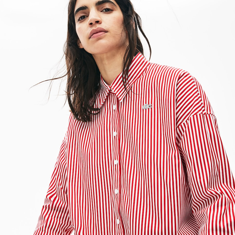 Women's Lacoste LIVE Boxy Fit Striped Cotton Shirt