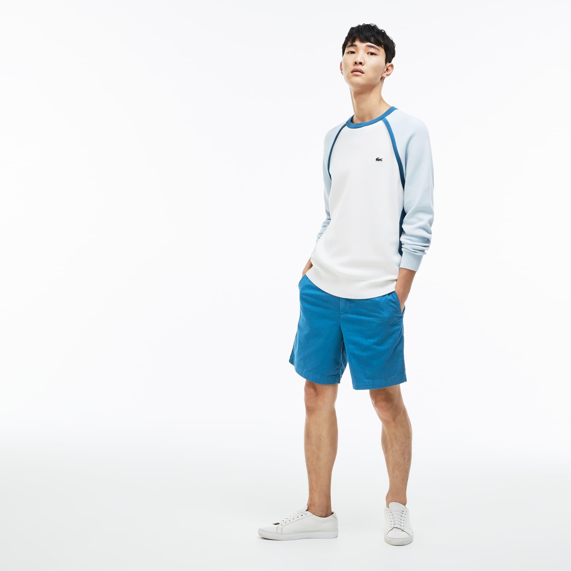 Men's Regular Fit Mini Print Stretch Cotton Twill Bermuda Shorts