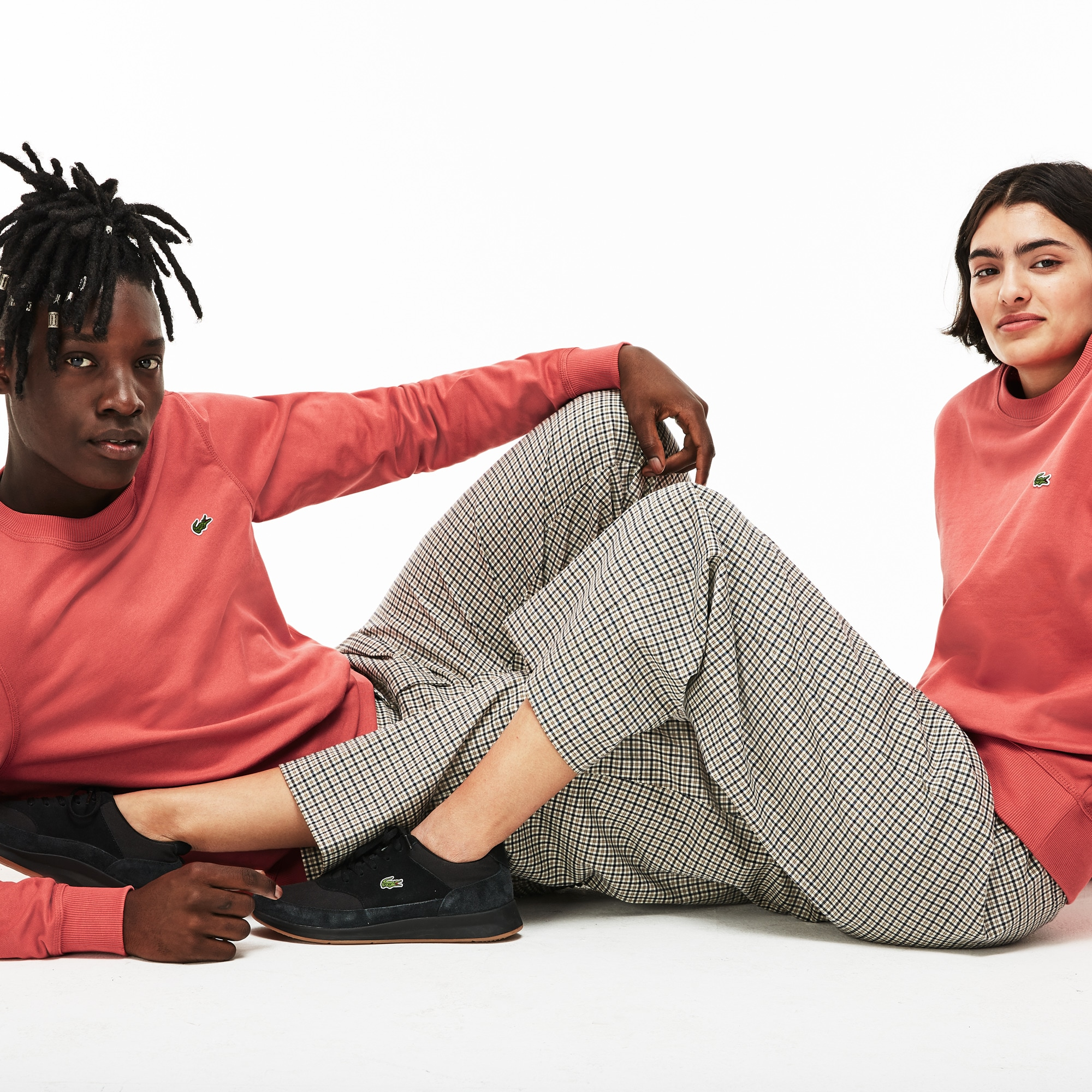 Unisex Lacoste LIVE Crew Neck Cotton Fleece Sweatshirt