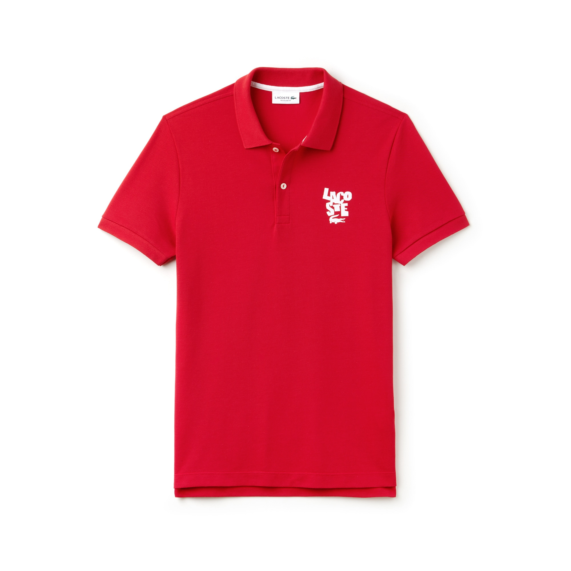 Men's Regular Fit Lacoste Lettering Cotton Petit Piqué Polo Shirt