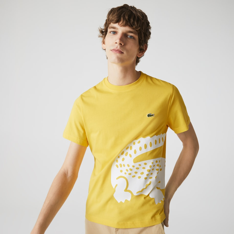 Men's Oversized Crocodile Print Crew Neck T-shirt
