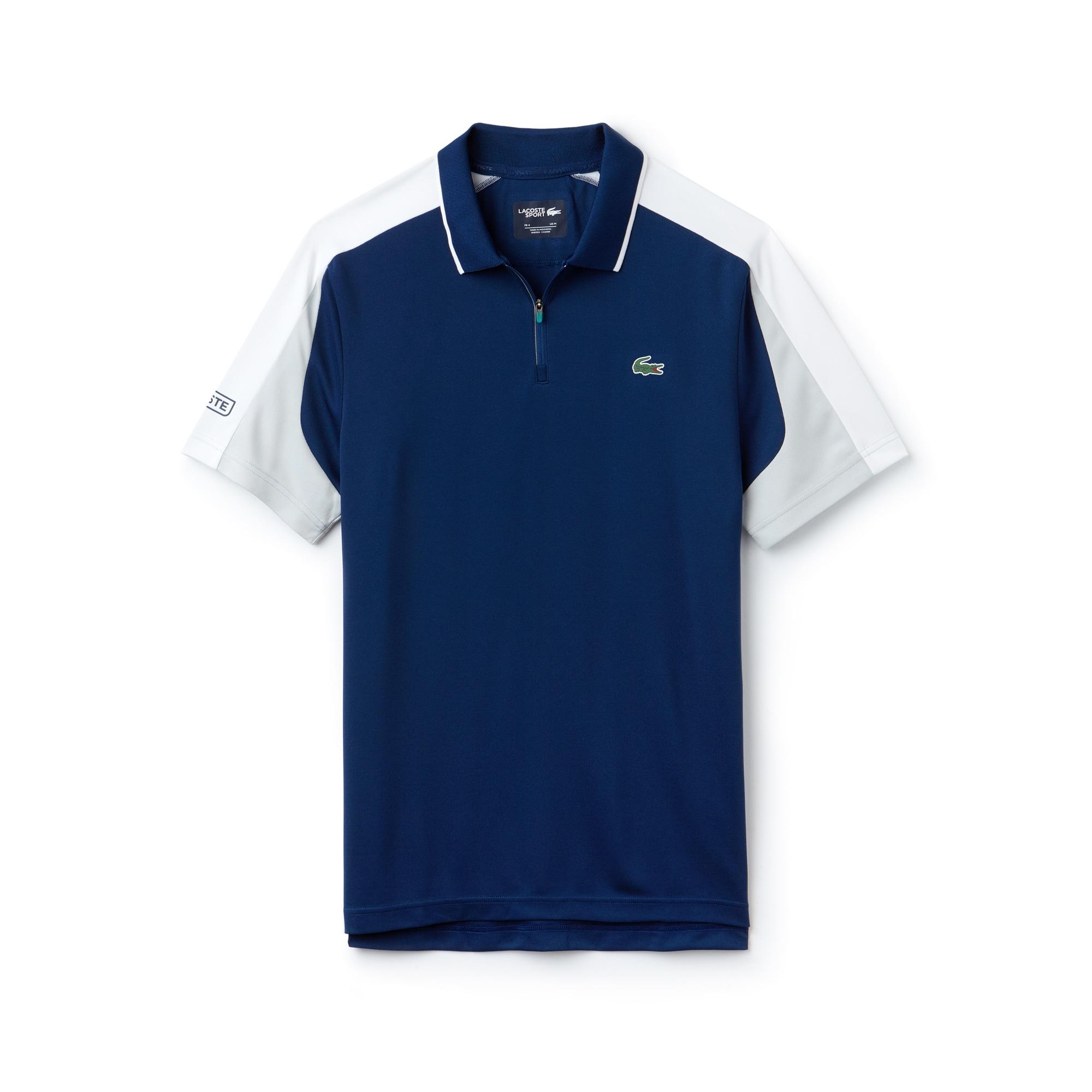 Men's Lacoste SPORT Zip Neck Contrast Bands Piqué Tennis Polo