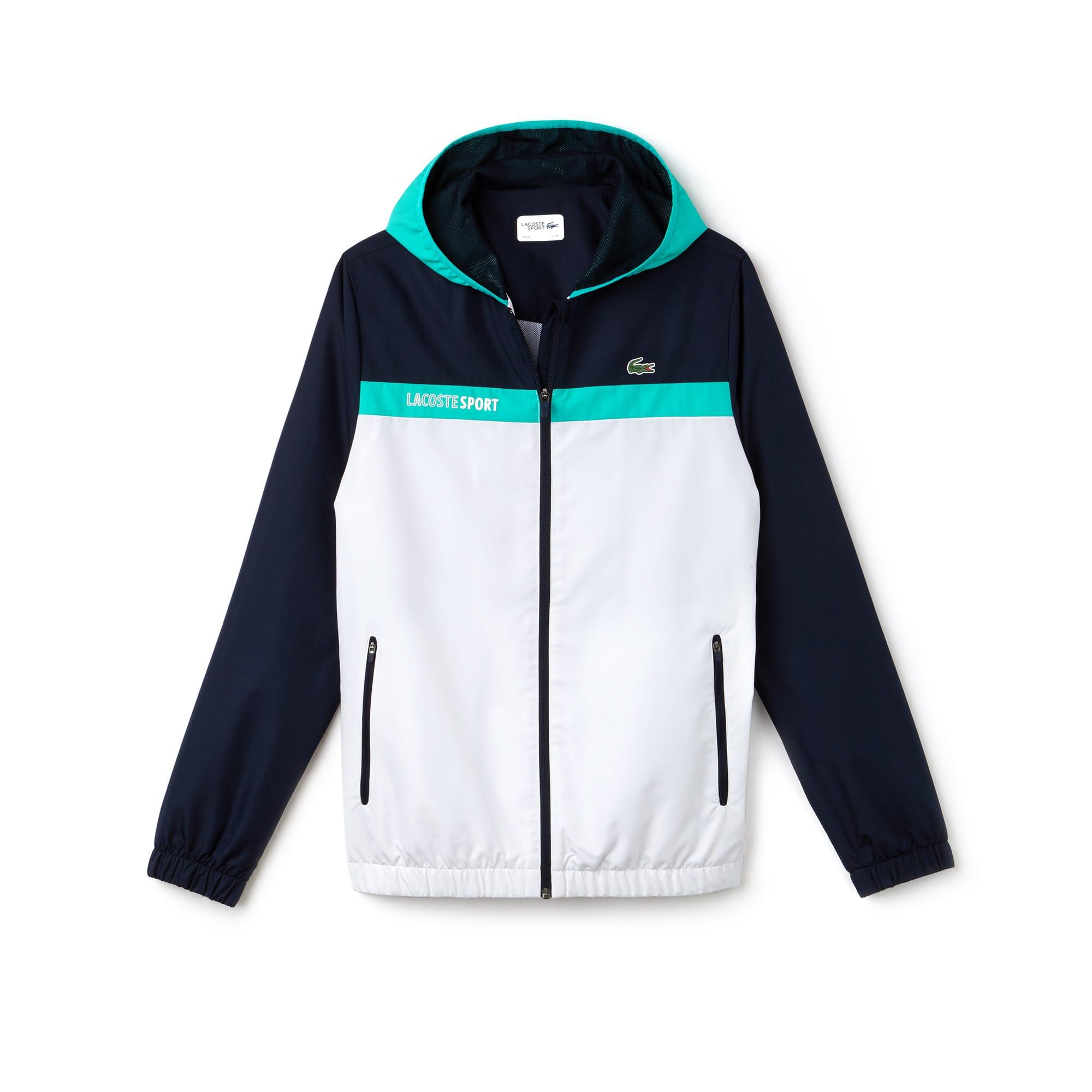 Men's Lacoste SPORT Hooded Colorblock Taffeta Tennis Jacket