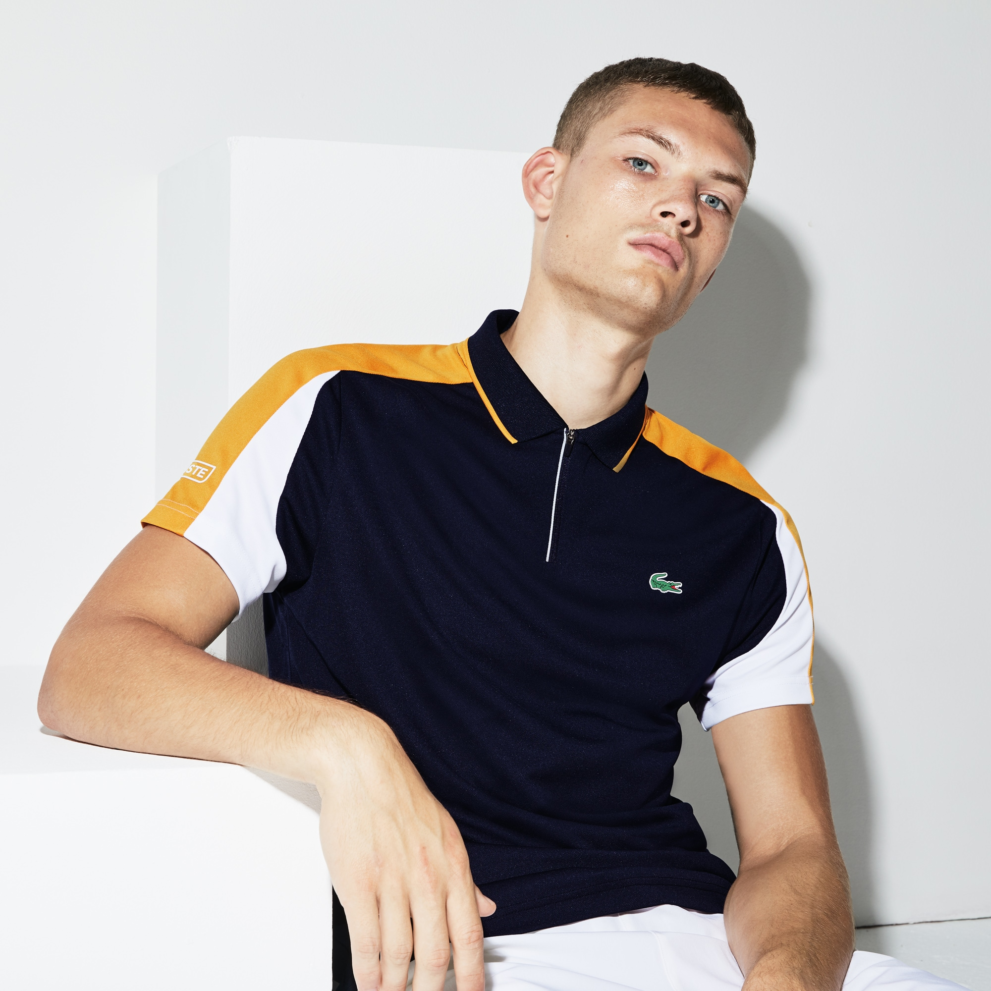 Men's Lacoste SPORT Zip Neck Contrast Bands Piqué Tennis Polo