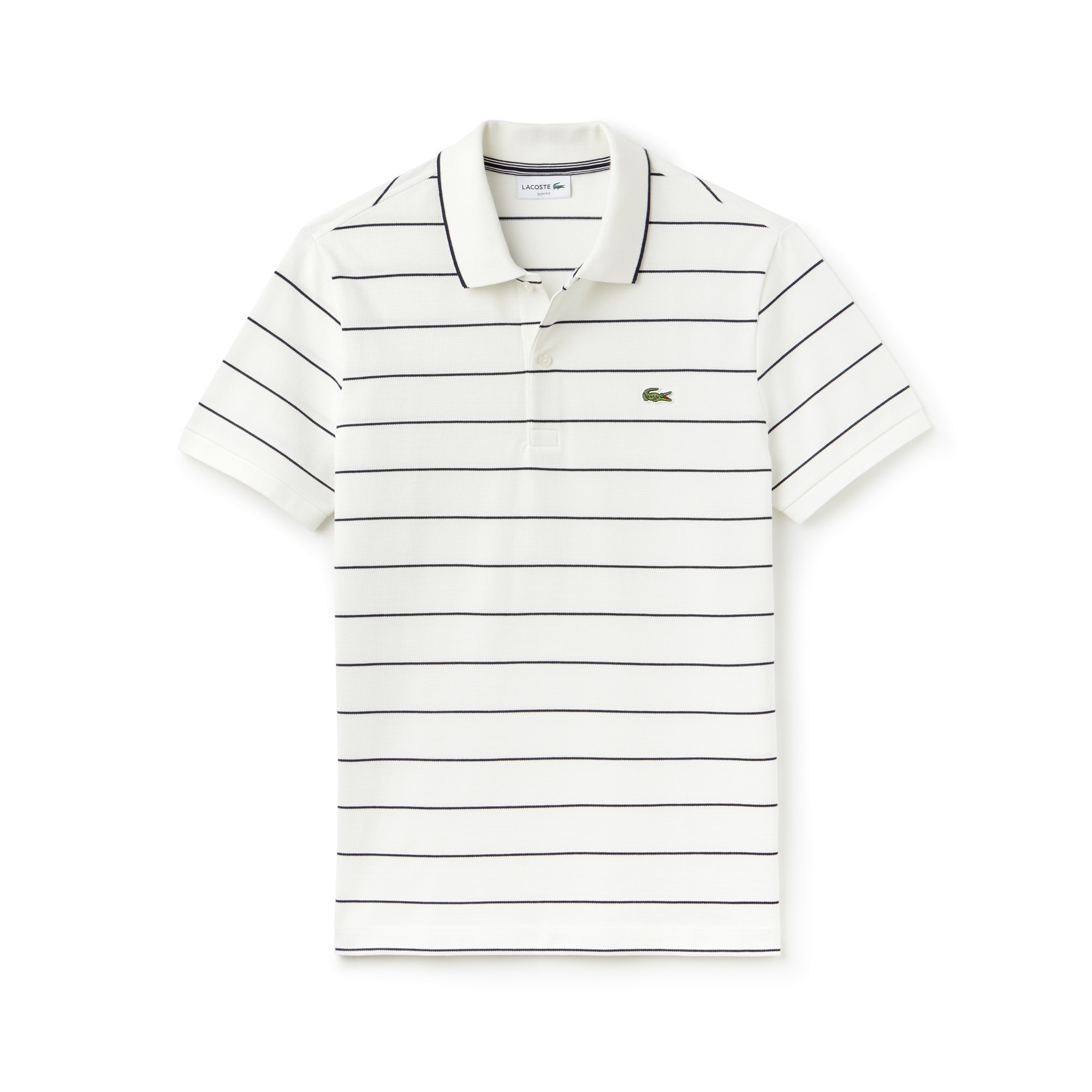 Men's Lacoste Slim Fit Piped Striped Square Knit And Jersey Polo Shirt