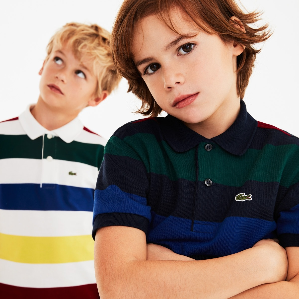 Boys' Lacoste Coloured Stripes Cotton Piqué Polo Shirt