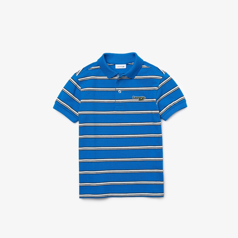 Boys' Lacoste Badge Striped Cotton Piqué Polo Shirt