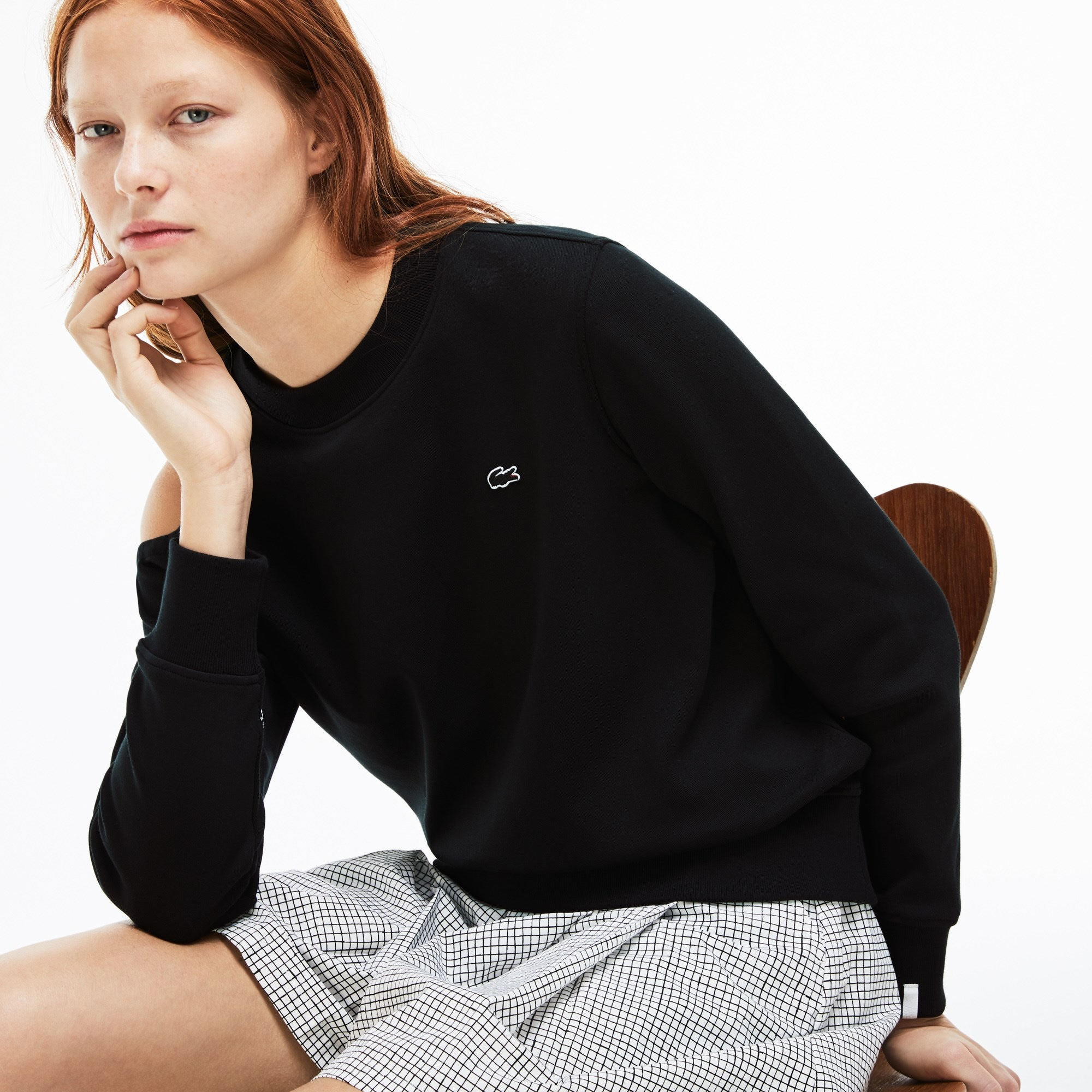 Women's Lacoste LIVE Asymmetrical Cutout Interlock Sweatshirt