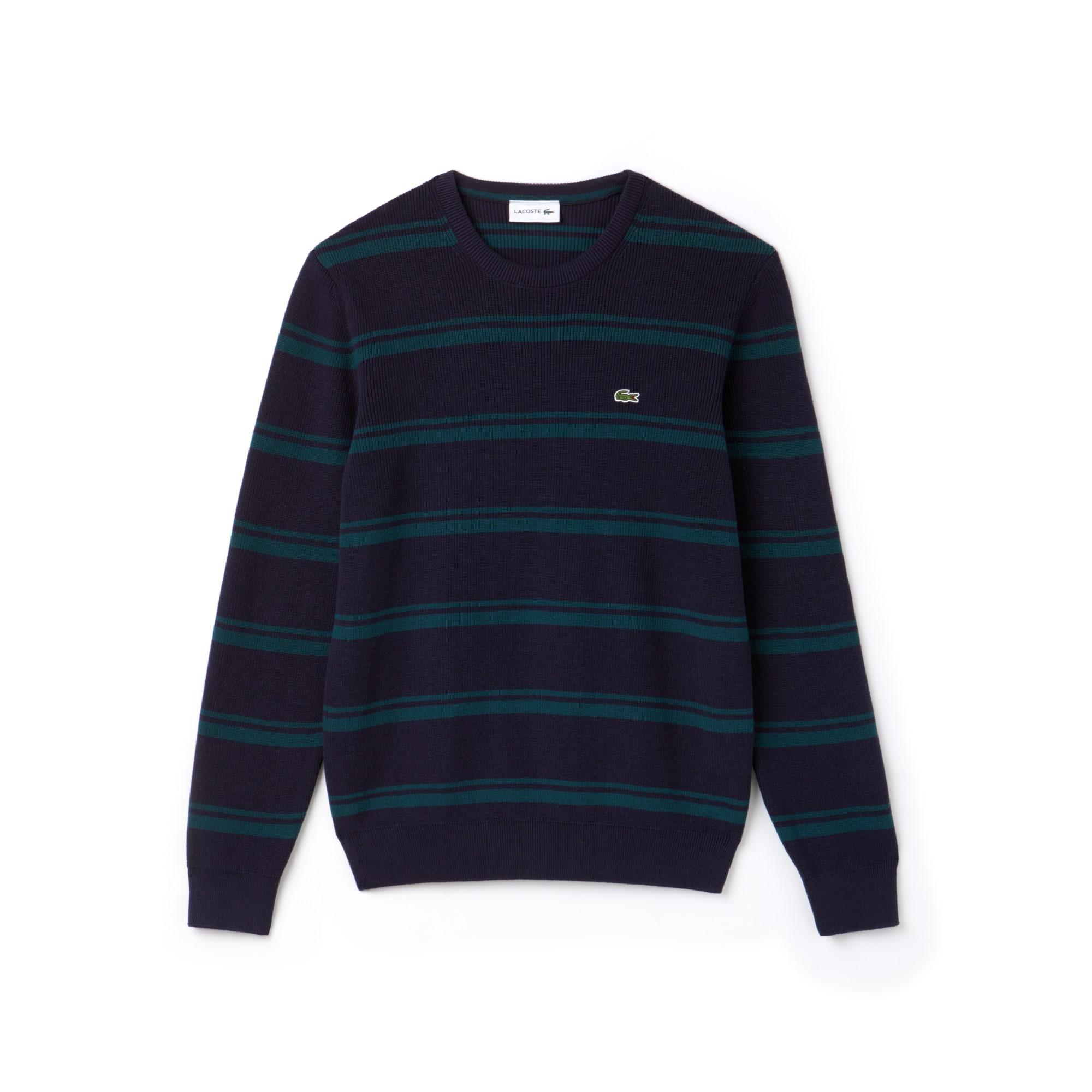 Men's Crew Neck Striped Ribbed Cotton Sweater