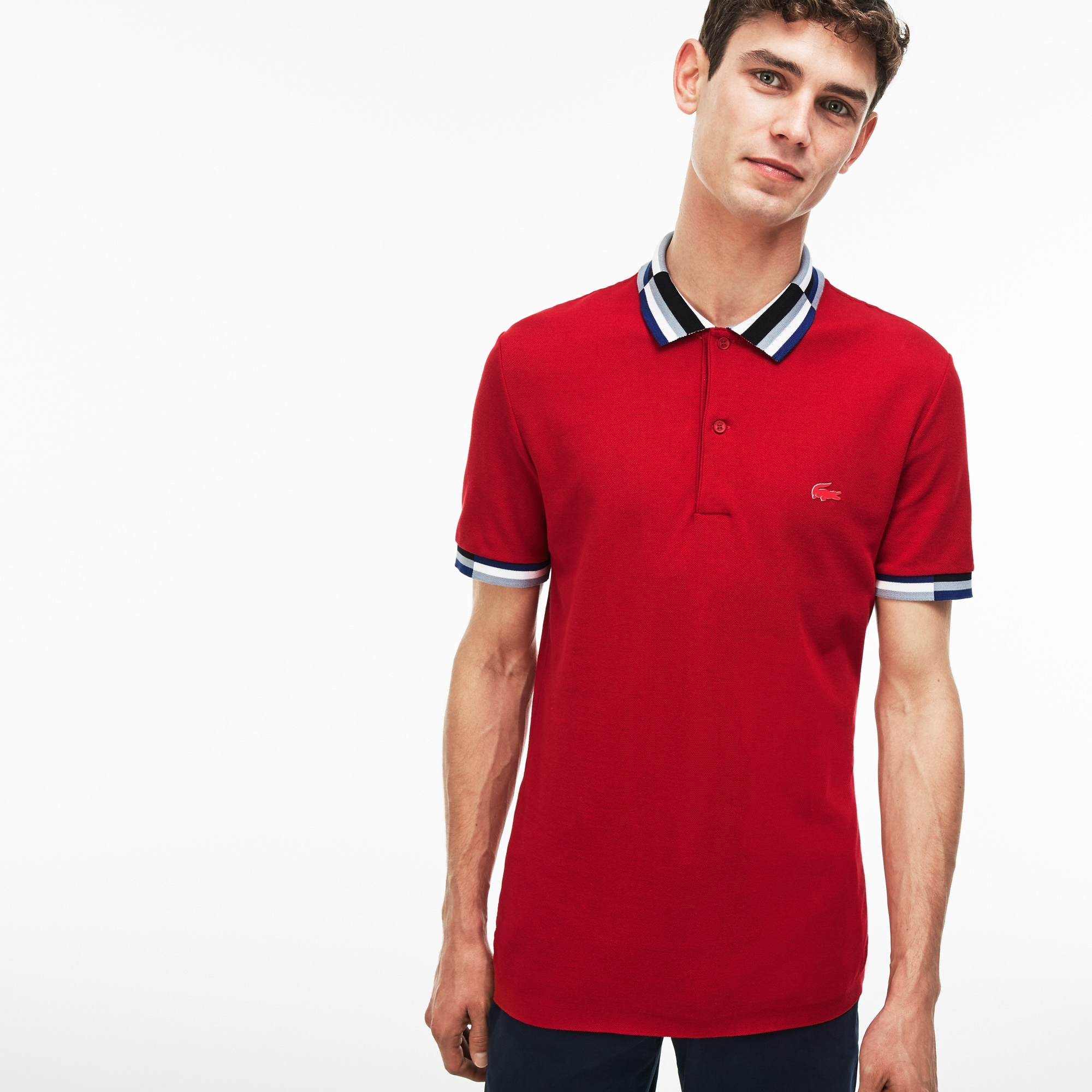 Men's Lacoste Slim Fit Colorblock Striped Knop Piqué Polo